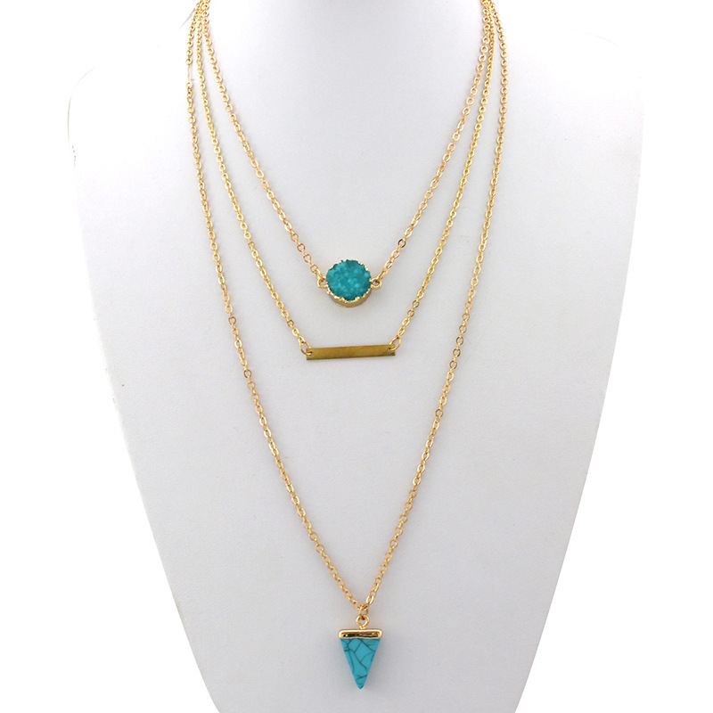 Turquoise Pendant Gold Chain Layered Necklace