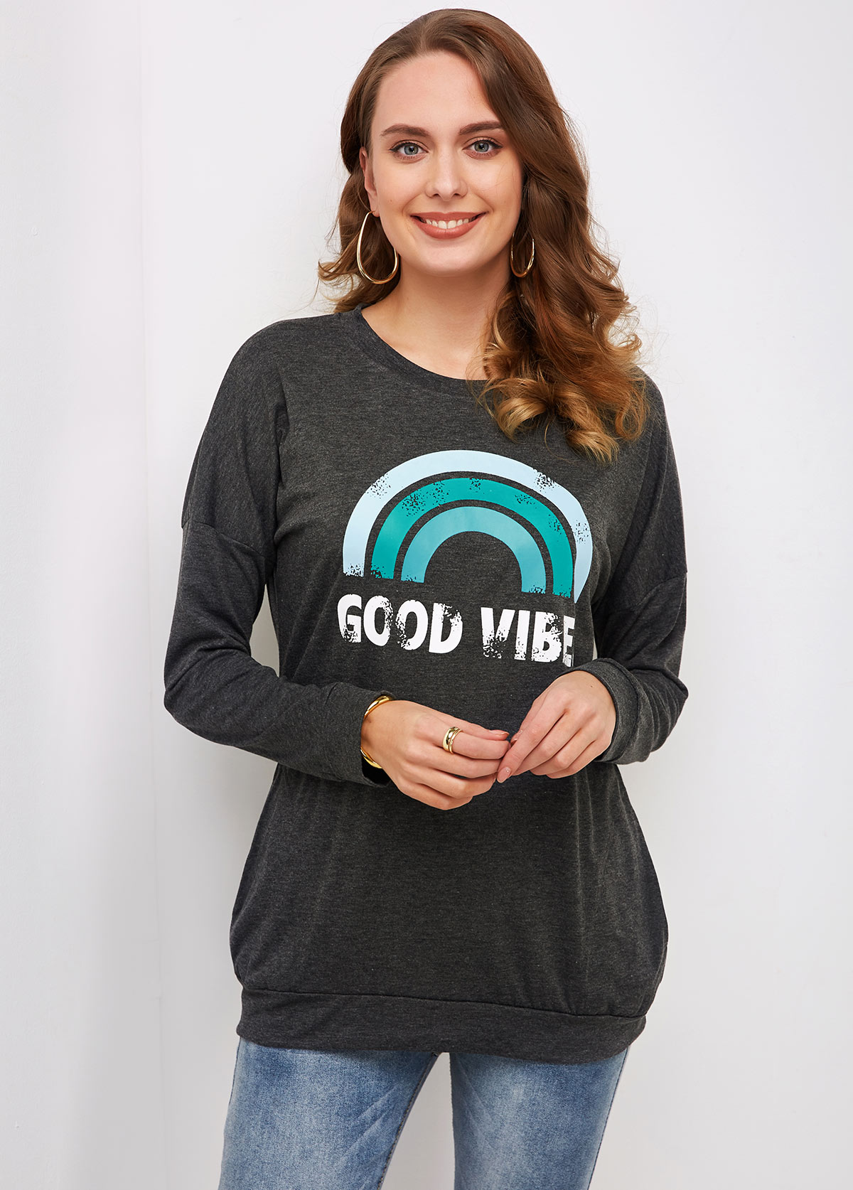 Round Neck Long Sleeve Rainbow Print T Shirt