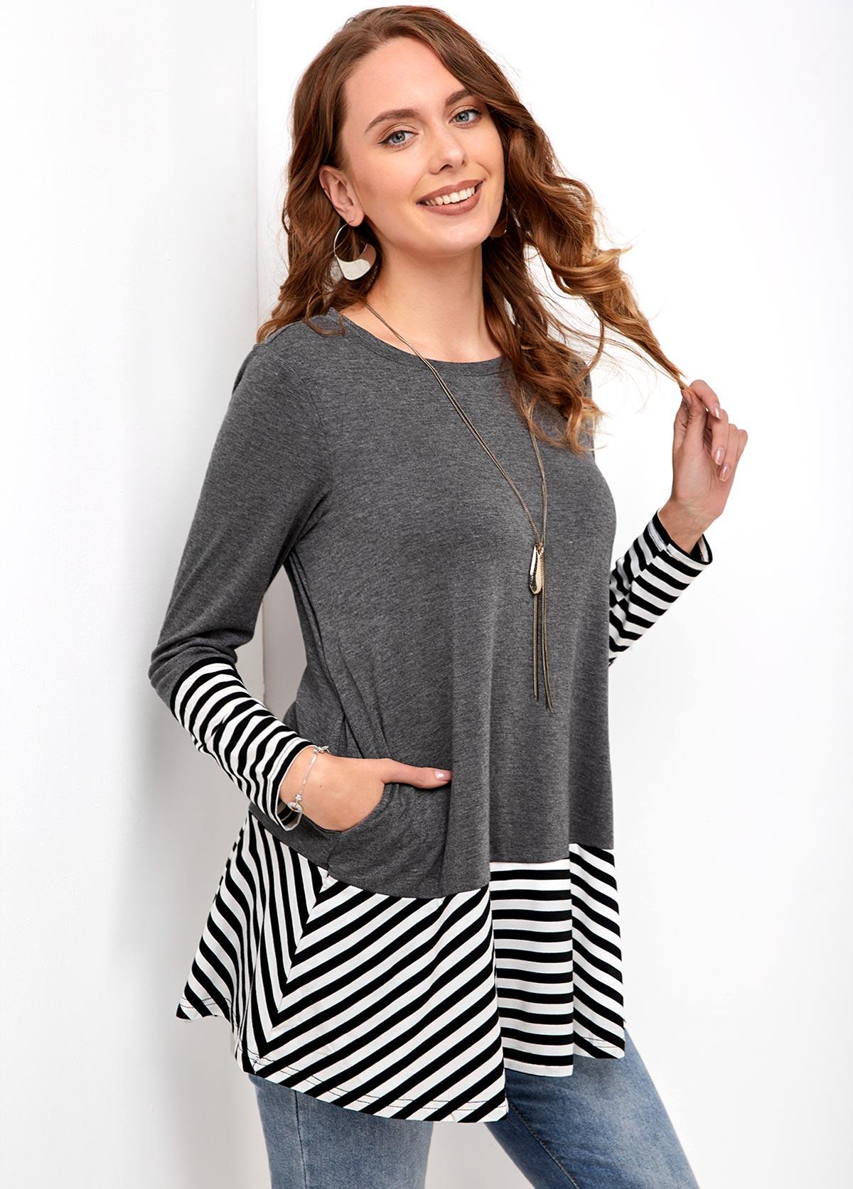 Pocket Round Neck Long Sleeve Striped T Shirt