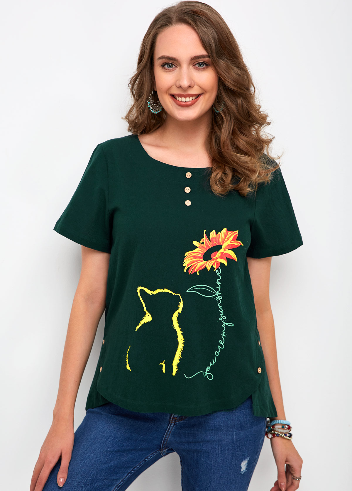 Short Sleeve Sunflower Print Round Neck T Shirt