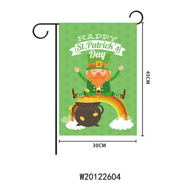 Letter and Character Print Green Garden Flag