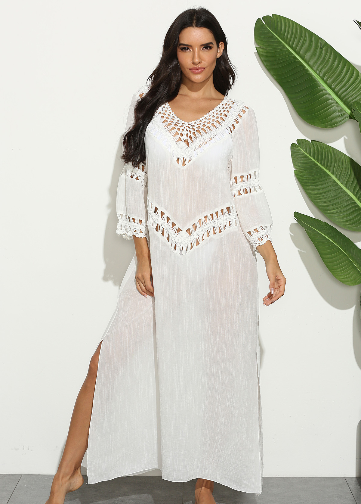 Side Slit 3/4 Sleeve Crochet Cover Up