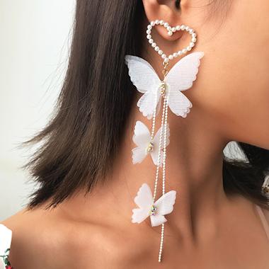 Pearl Detail Butterfly Design Earring Set