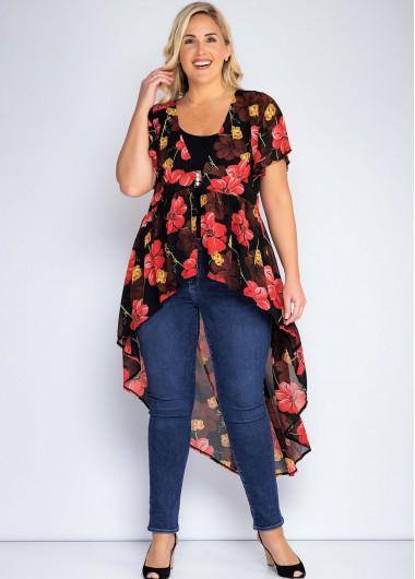Rotita Floral Print Plus Size Dovetail Pendulum Blouse