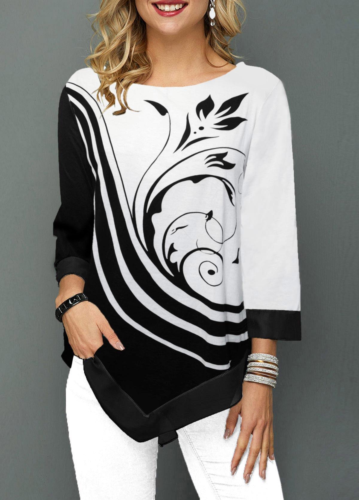 ROTITA Asymmetric Hem Three Quarter Sleeve Flower Print T Shirt