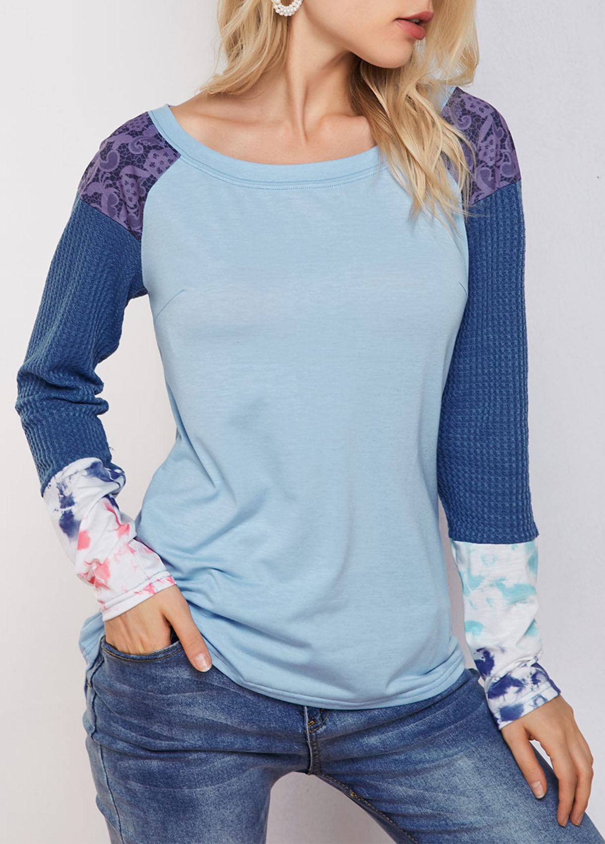 ROTITA Camouflage Print Dip Hem Tie Dye T Shirt