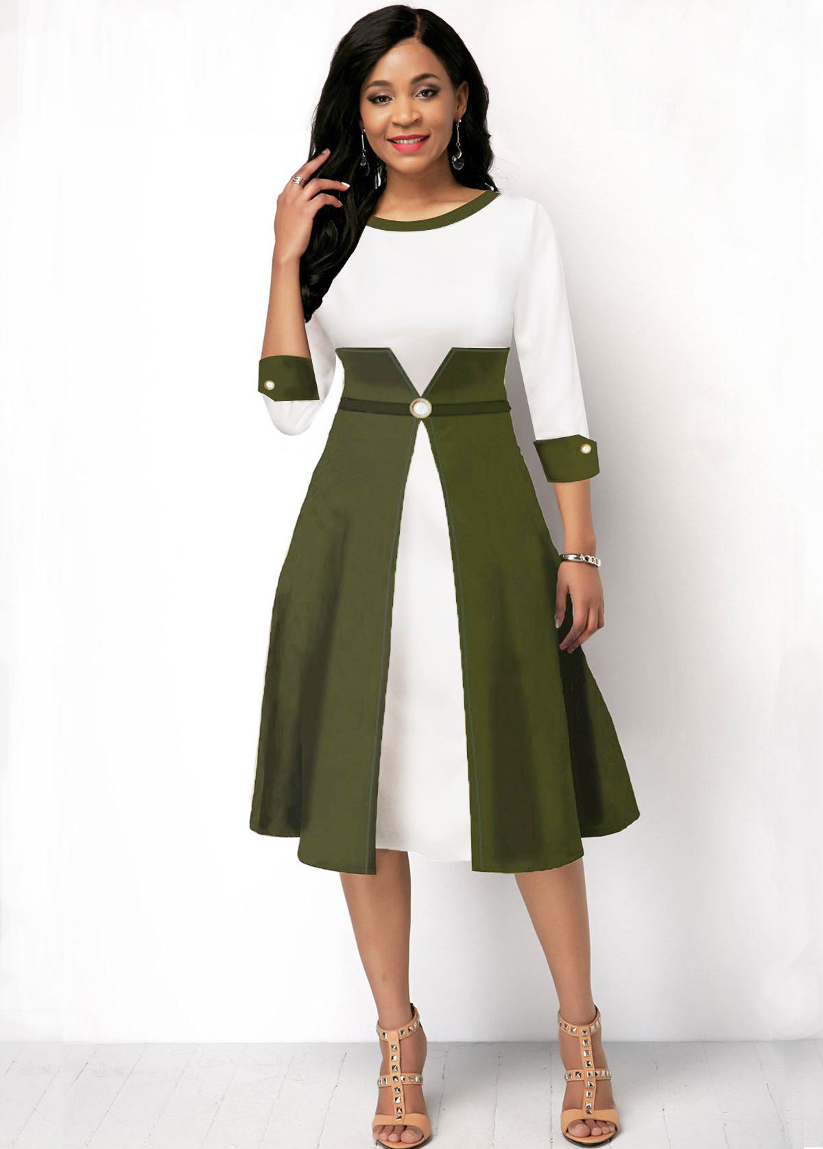 ROTITA Round Neck Three Quarter Sleeve Color Block Dress