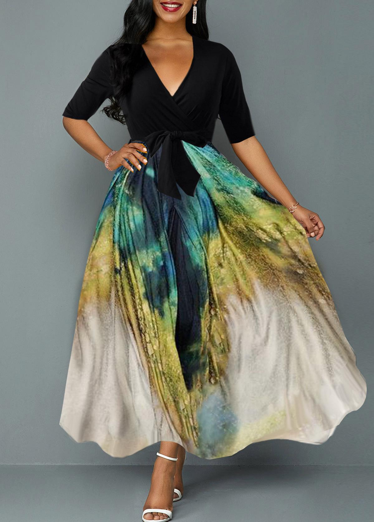 ROTITA Plunging Neck Tie Dye Print Belted Maxi Dress