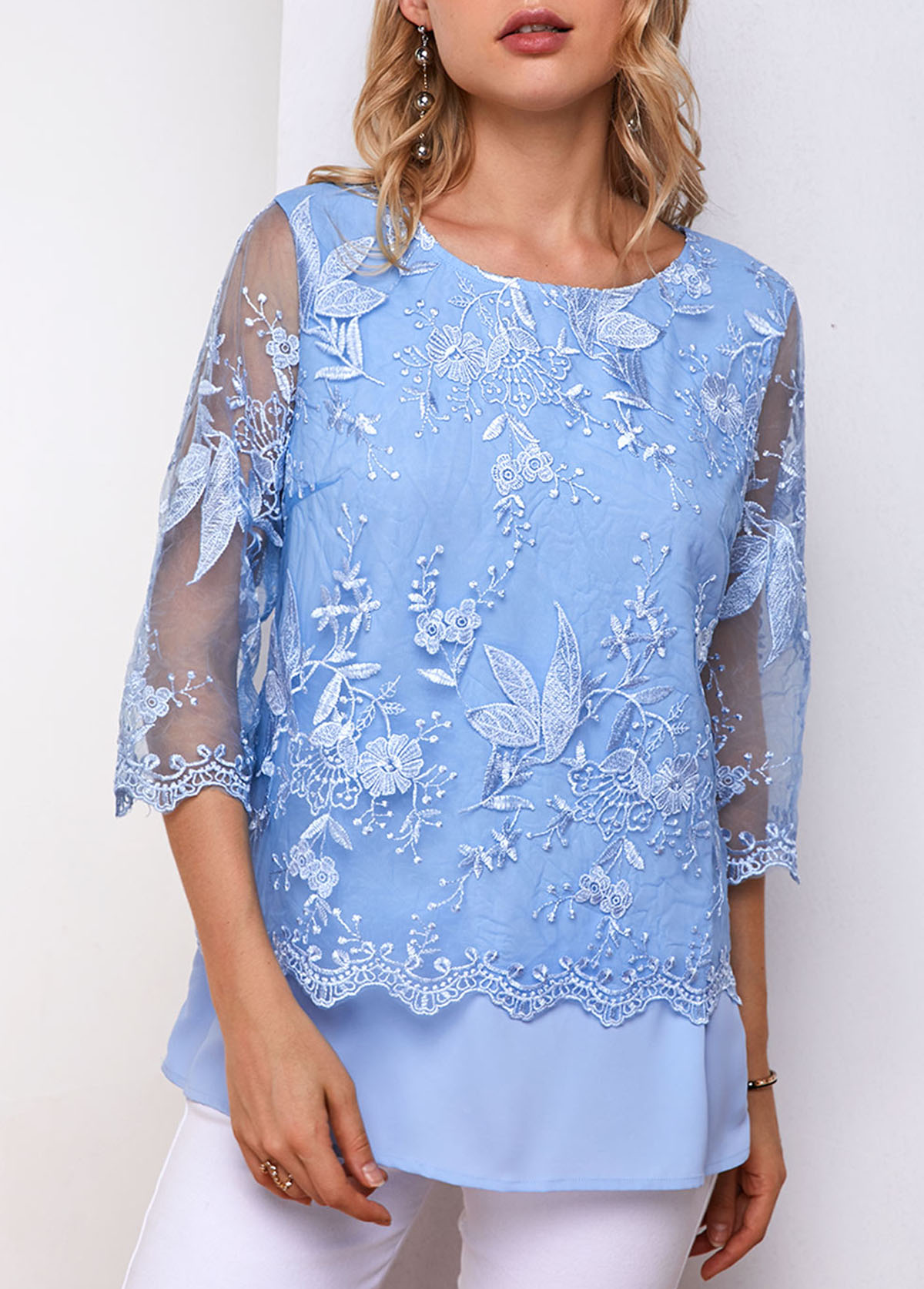 ROTITA Lace Panel Three Quarter Sleeve Blouse