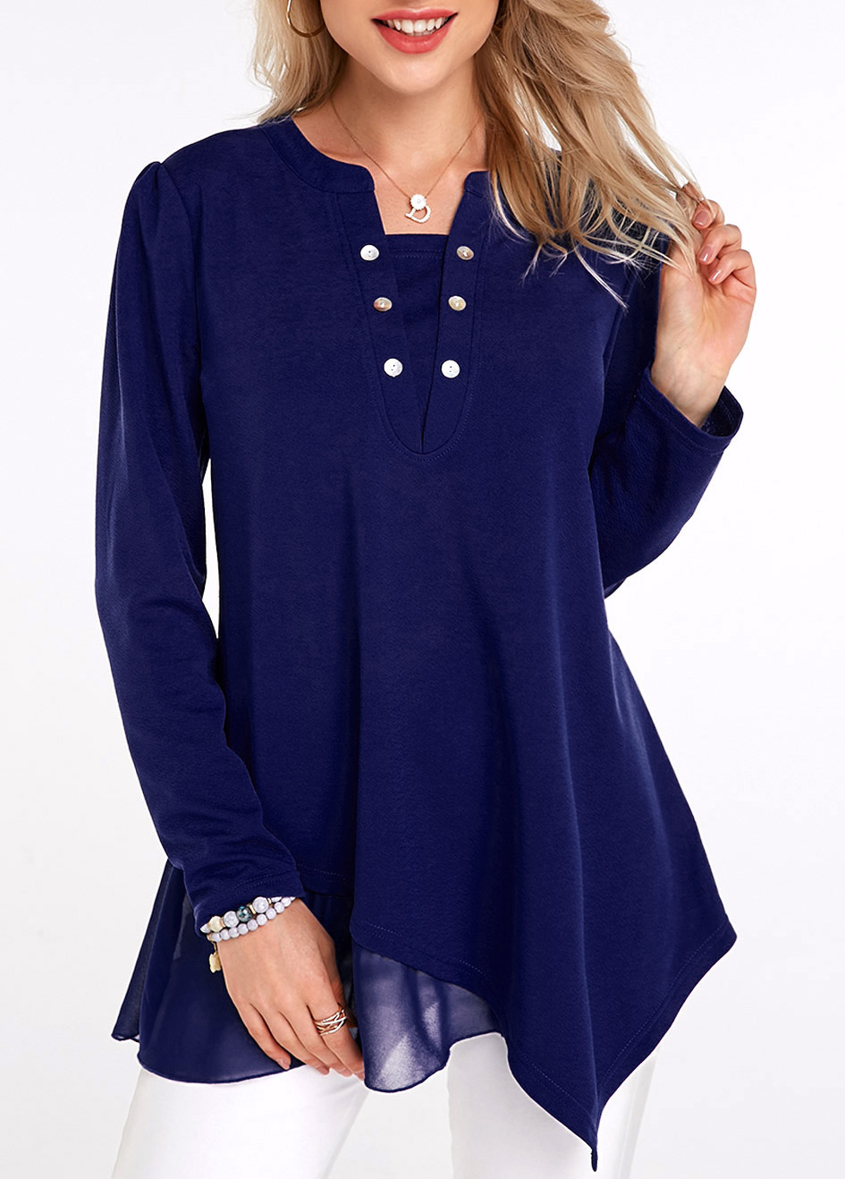 ROTITA Button Detail Asymmetric Hem Long Sleeve Tunic Top