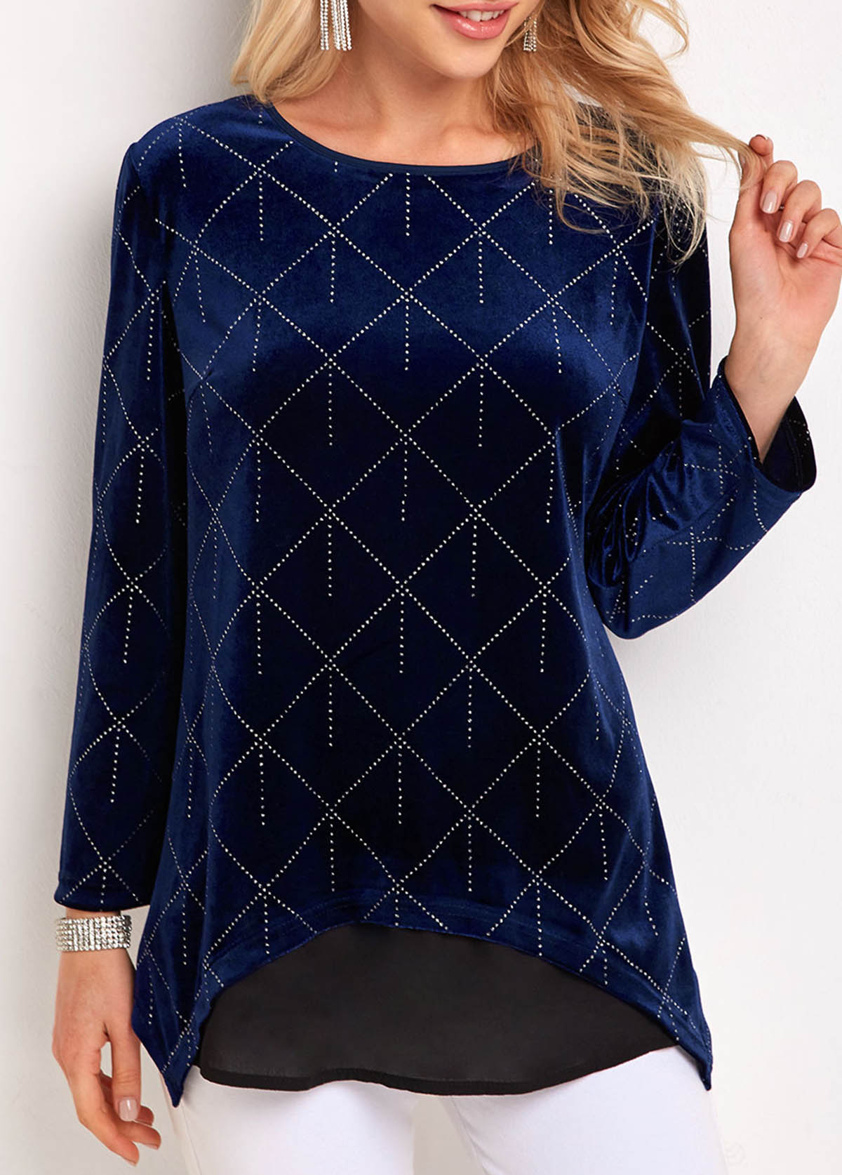 ROTITA Long Sleeve Velvet Hot Stamping T Shirt