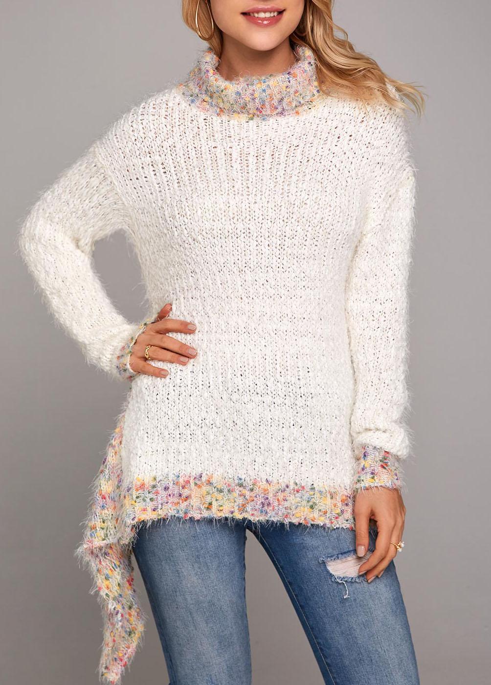 Turtleneck Jacquard Asymmetric Hem Long Sleeve Sweater
