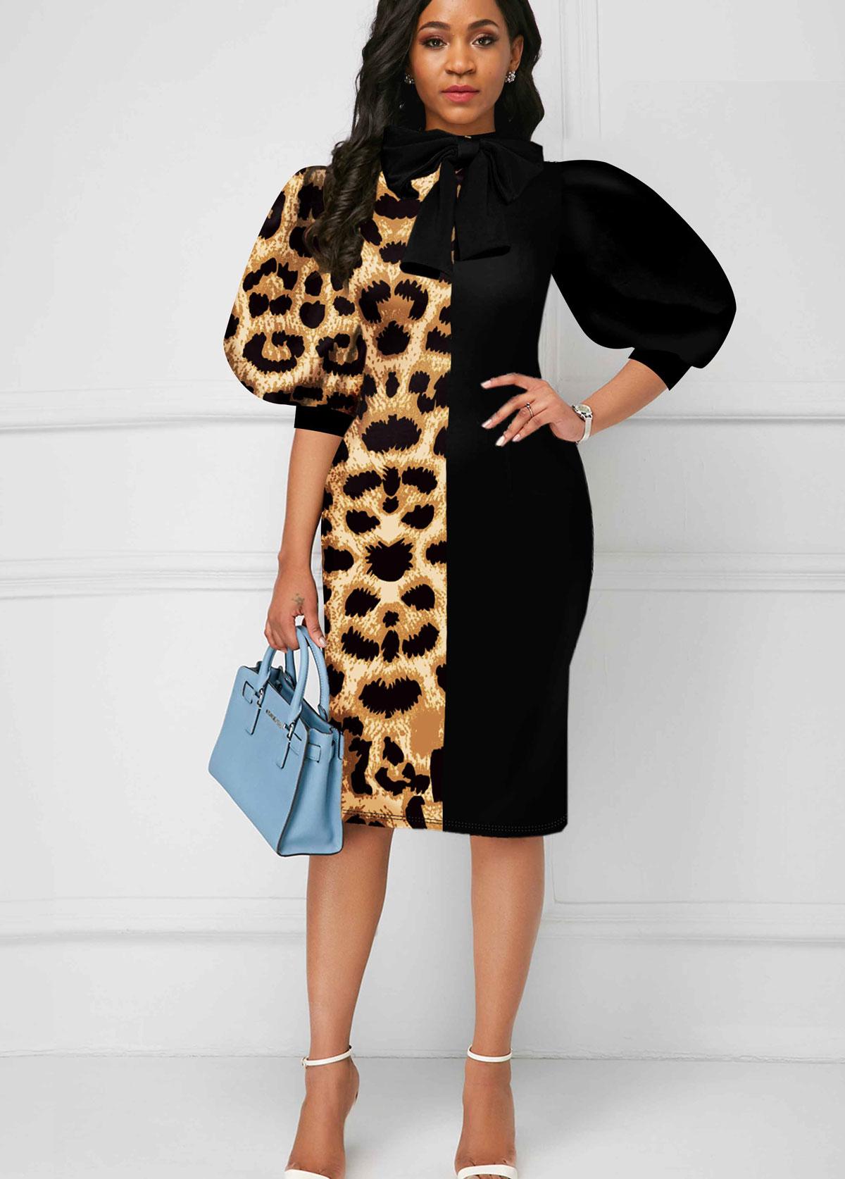 ROTITA Puff Sleeve Color Block Bowknot Leopard Dress