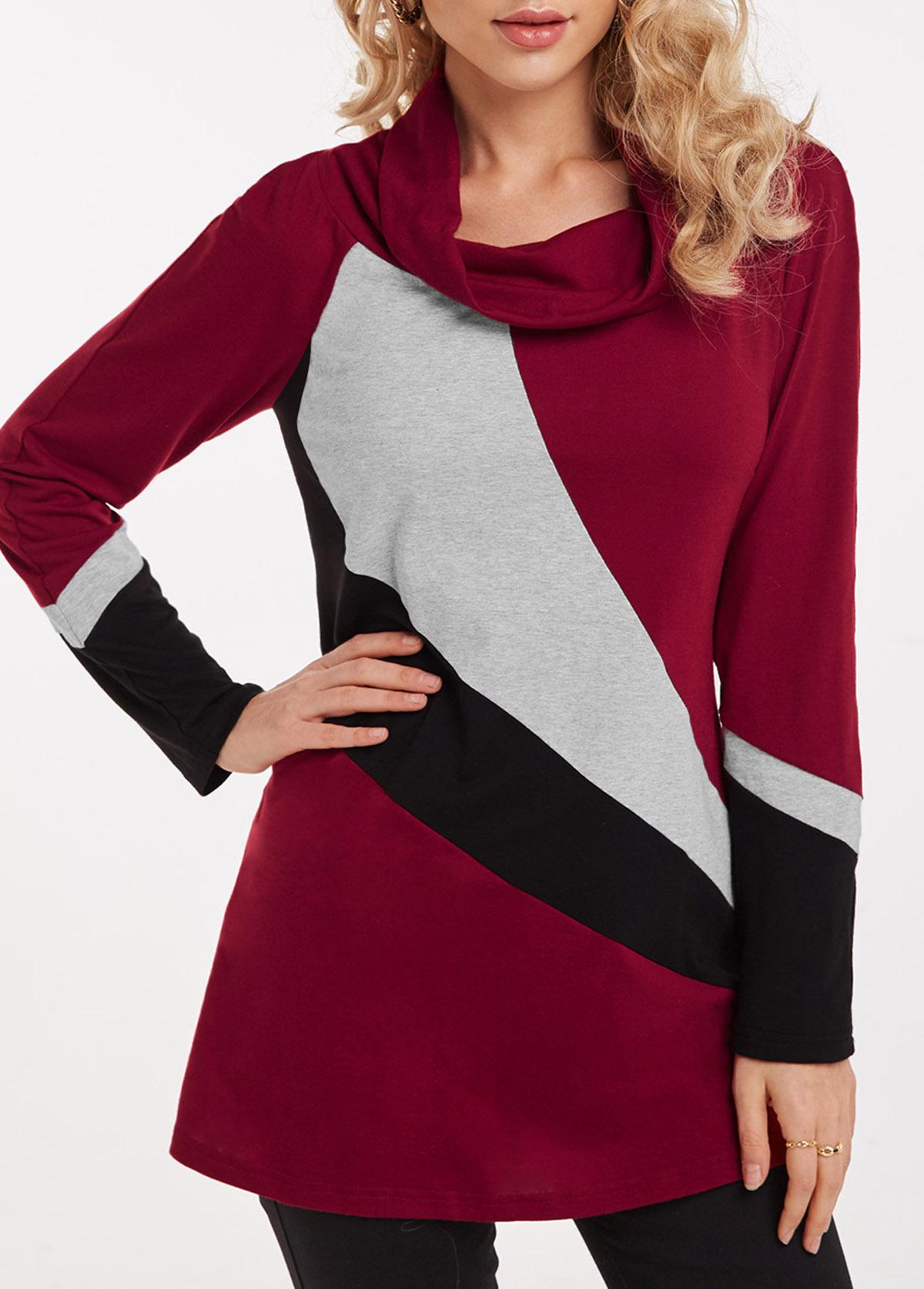 ROTITA Contrast Cowl Neck Long Sleeve Tunic Top