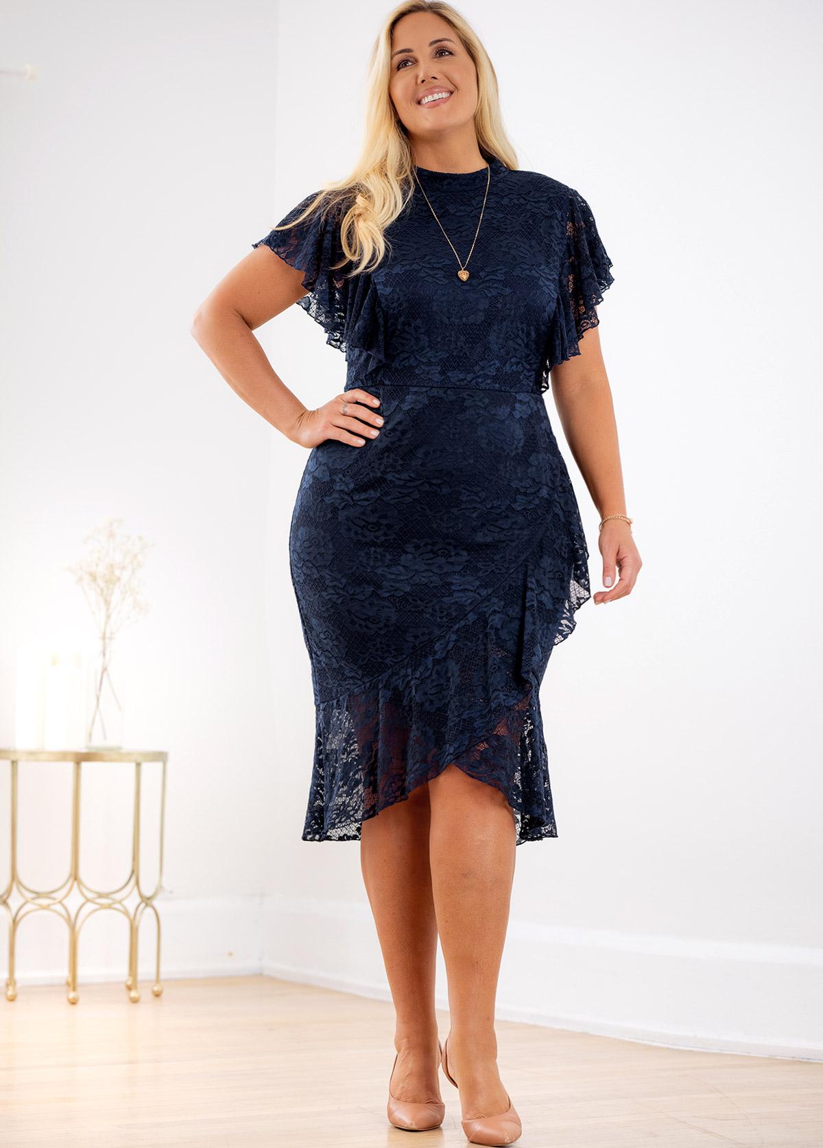 ROTITA Lace Plus Size Asymmetric Hem Dress