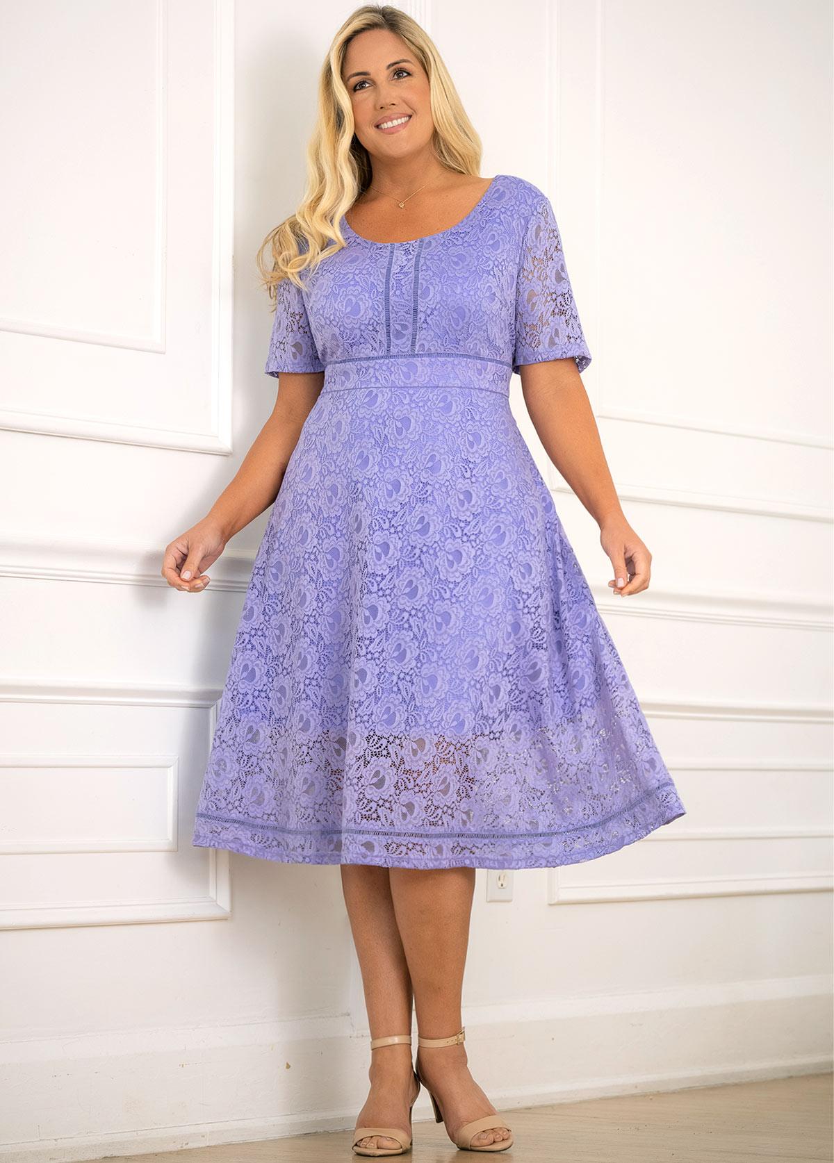 ROTITA Lace Plus Size Round Neck Dress
