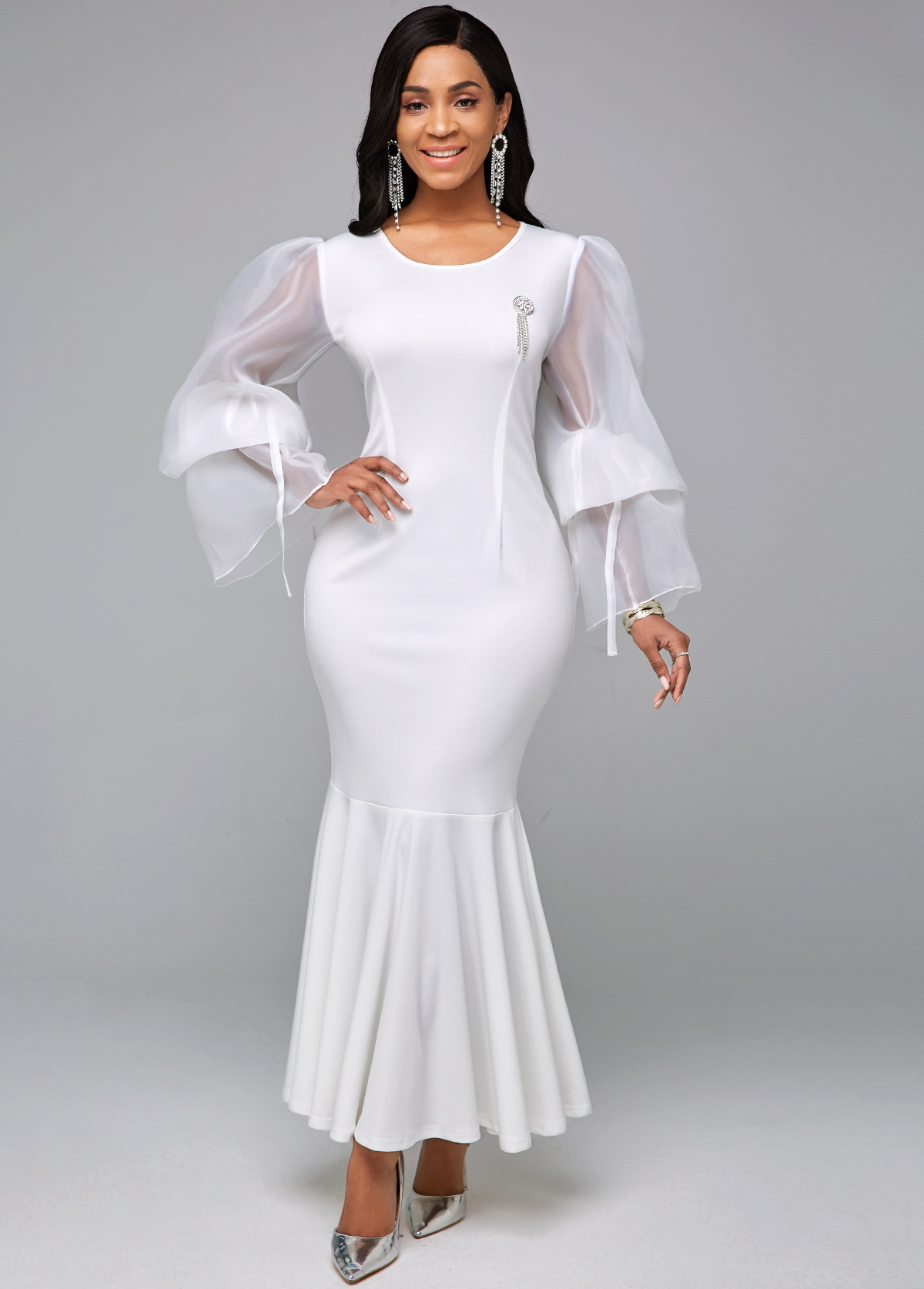 ROTITA Round Neck Long Sleeve White Mermaid Dress