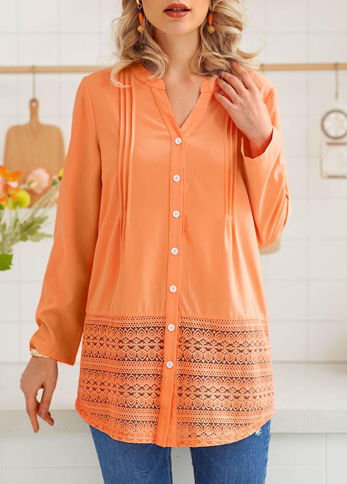 ROTITA Button Up Long Sleeve Lace Stitching Blouse