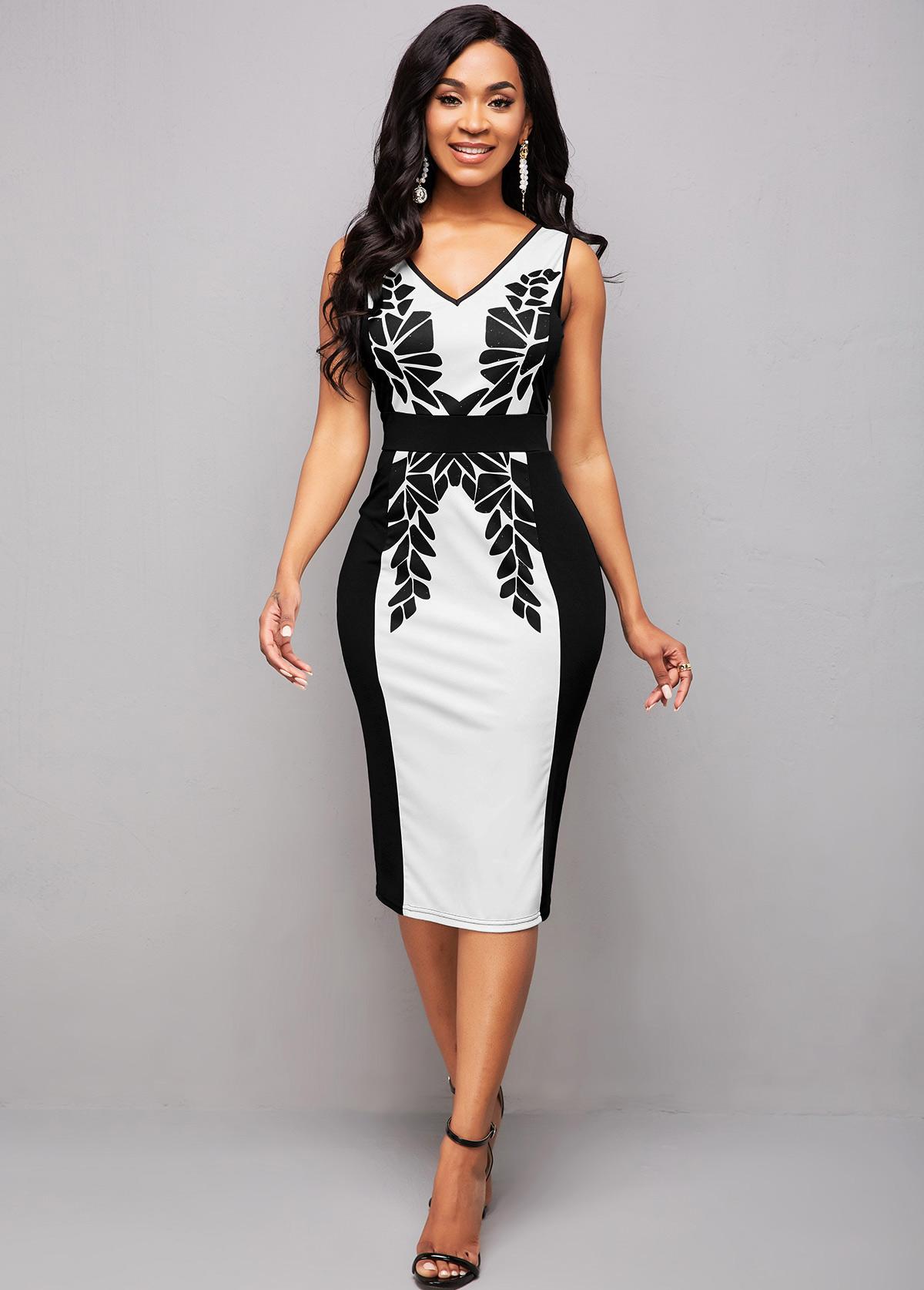 ROTITA Sleeveless Printed Color Block Bodycon Dress