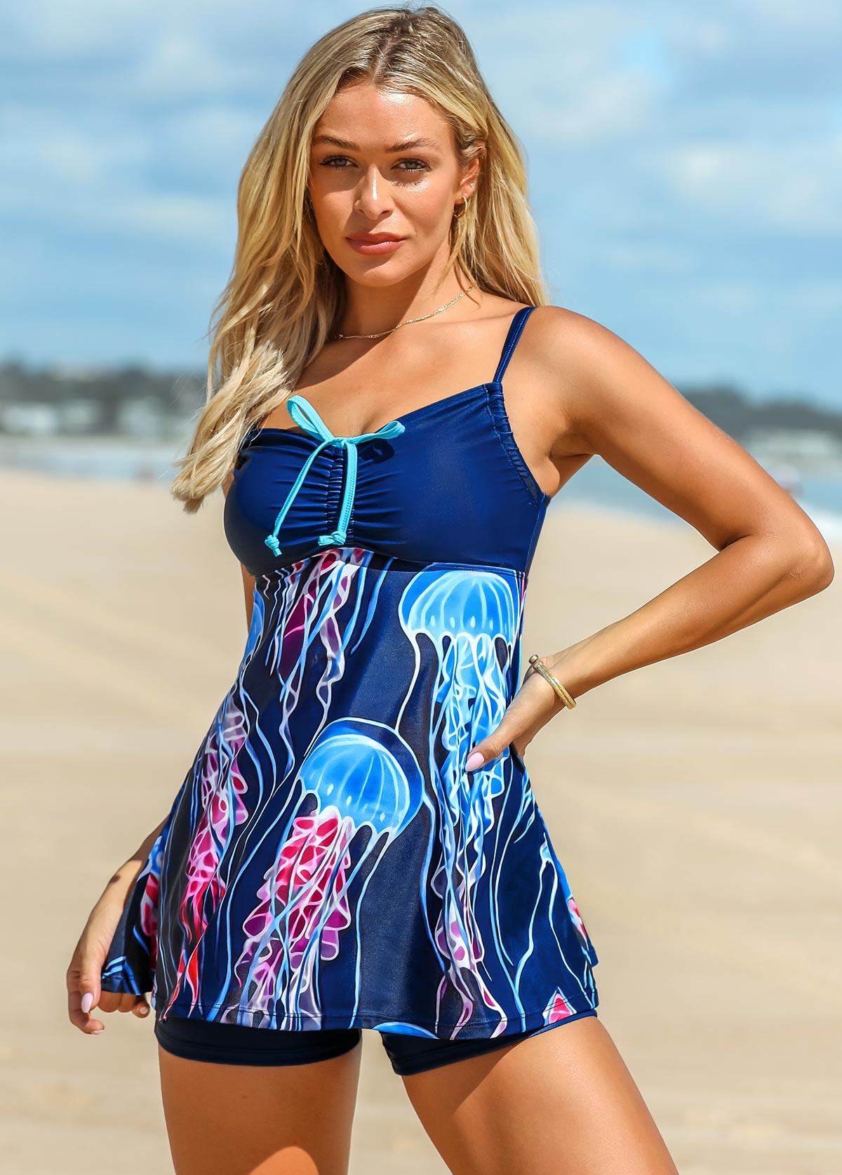 ROTITA Jellyfish Print Drawstring Front Swimdress and Shorts