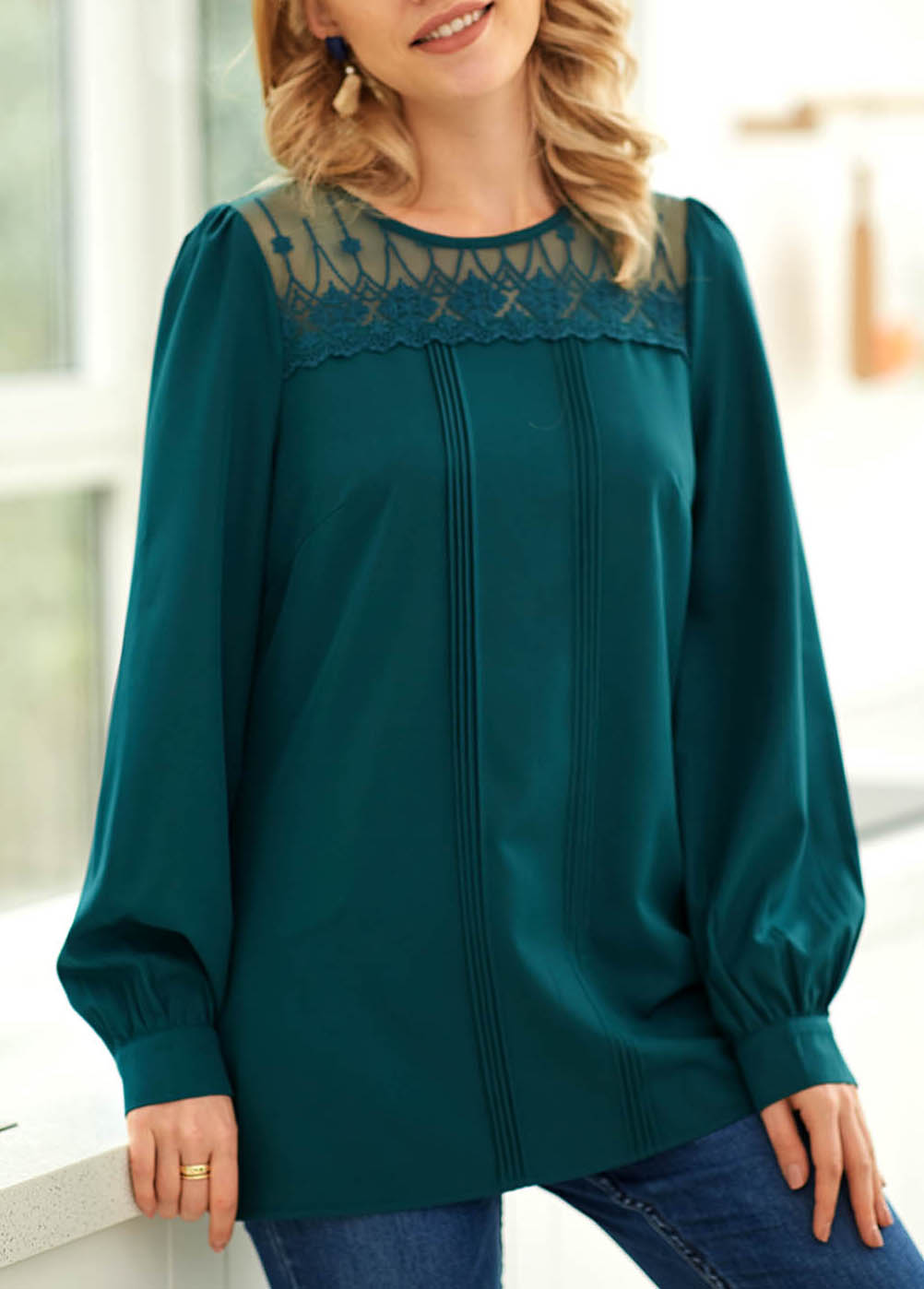 ROTITA Crinkle Chest Long Sleeve Lace Stitching Blouse