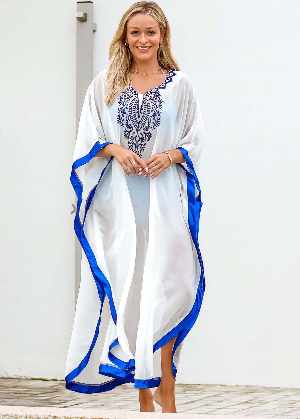 Contrast Piping Cape Shoulder Embroidered Cover Up
