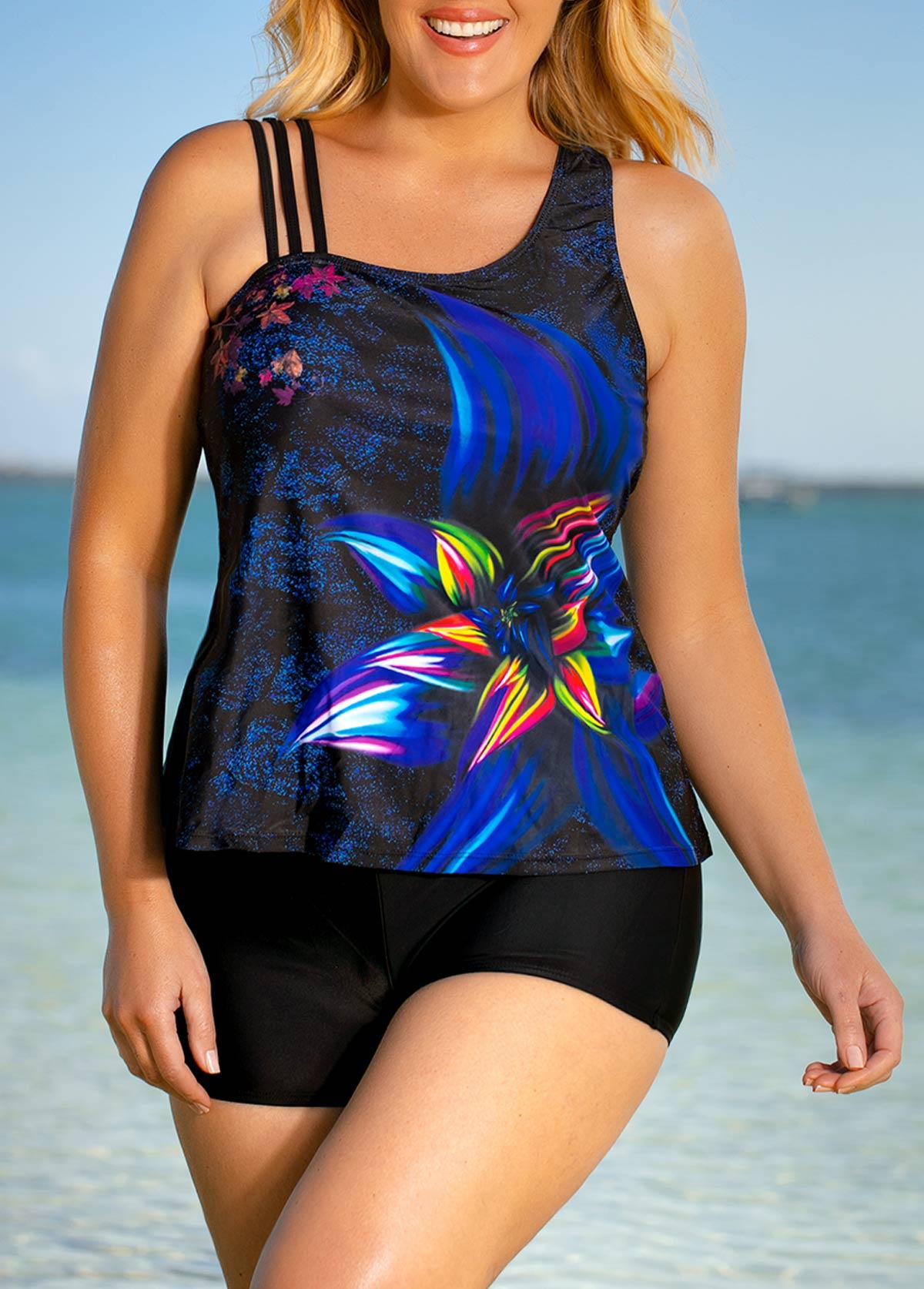 ROTITA Plus Size Floral Print Colorful Tankini Set