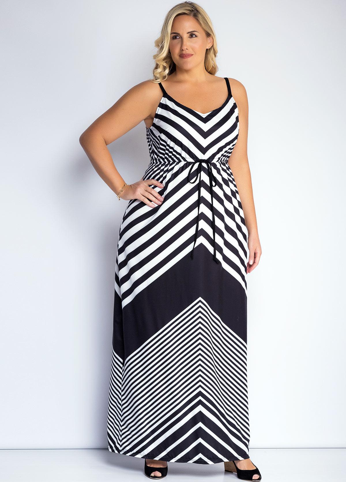 ROTITA Striped Plus Size Spaghetti Strap Dress