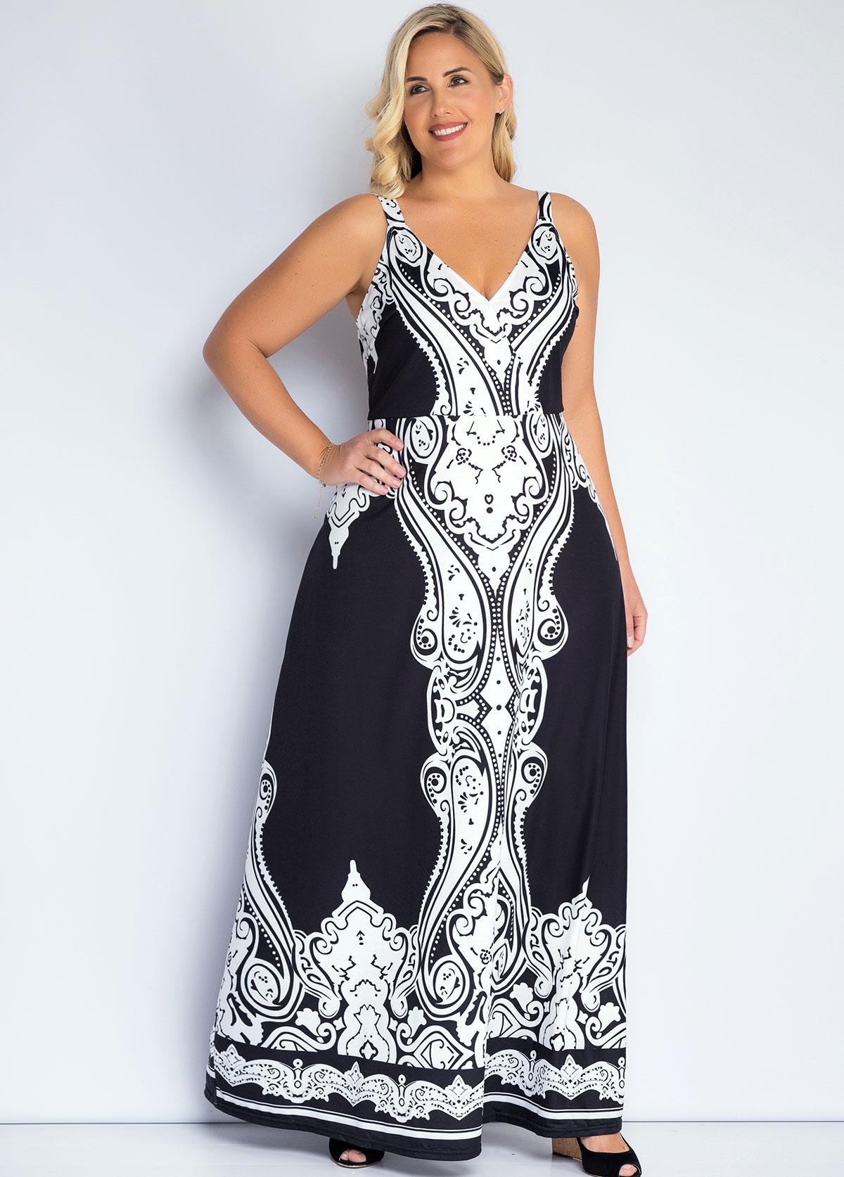 ROTITA Spaghetti Strap Plus Size Tribal Print Dress