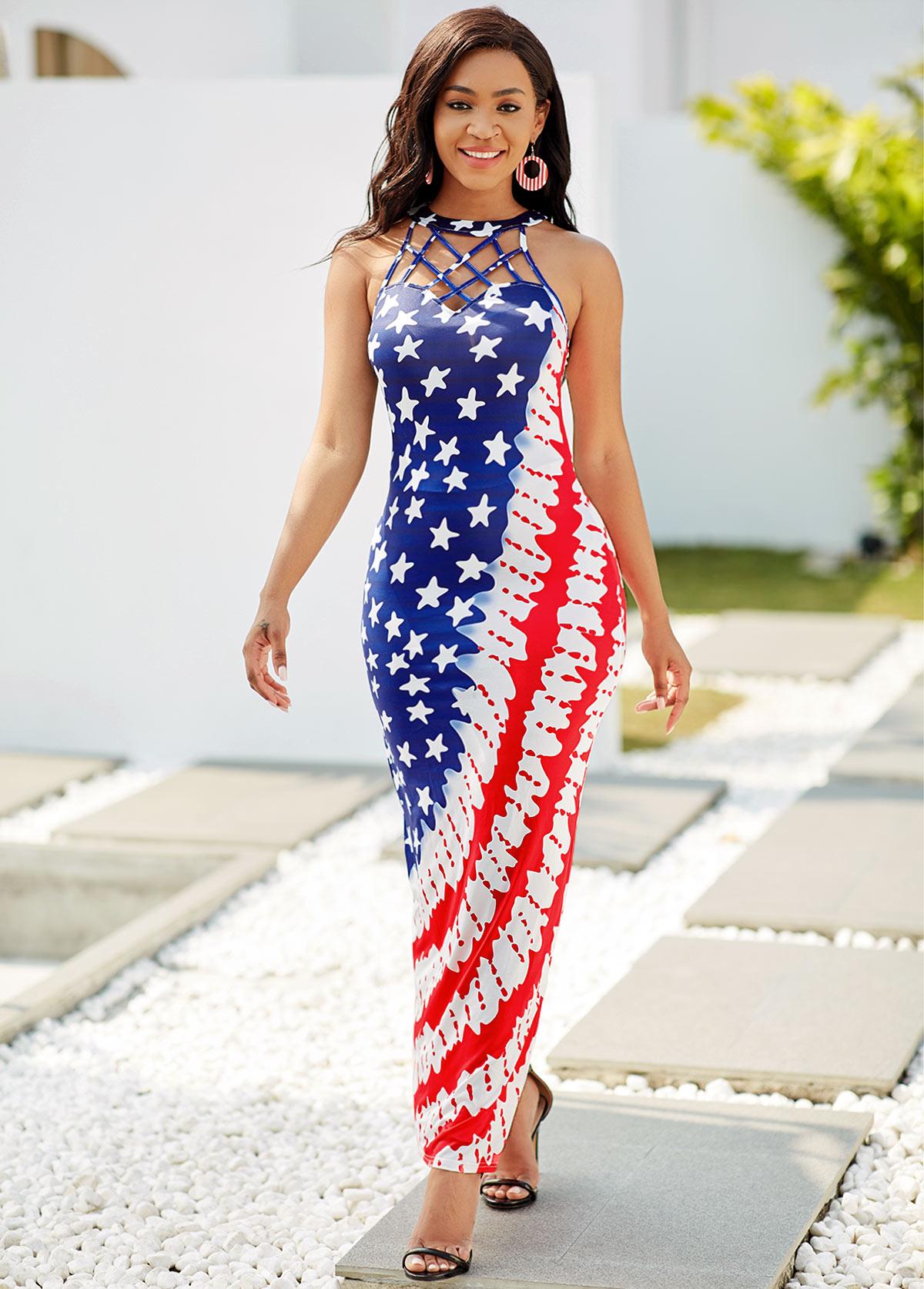 ROTITA Lattice Neck American Flag Print Maxi Dress