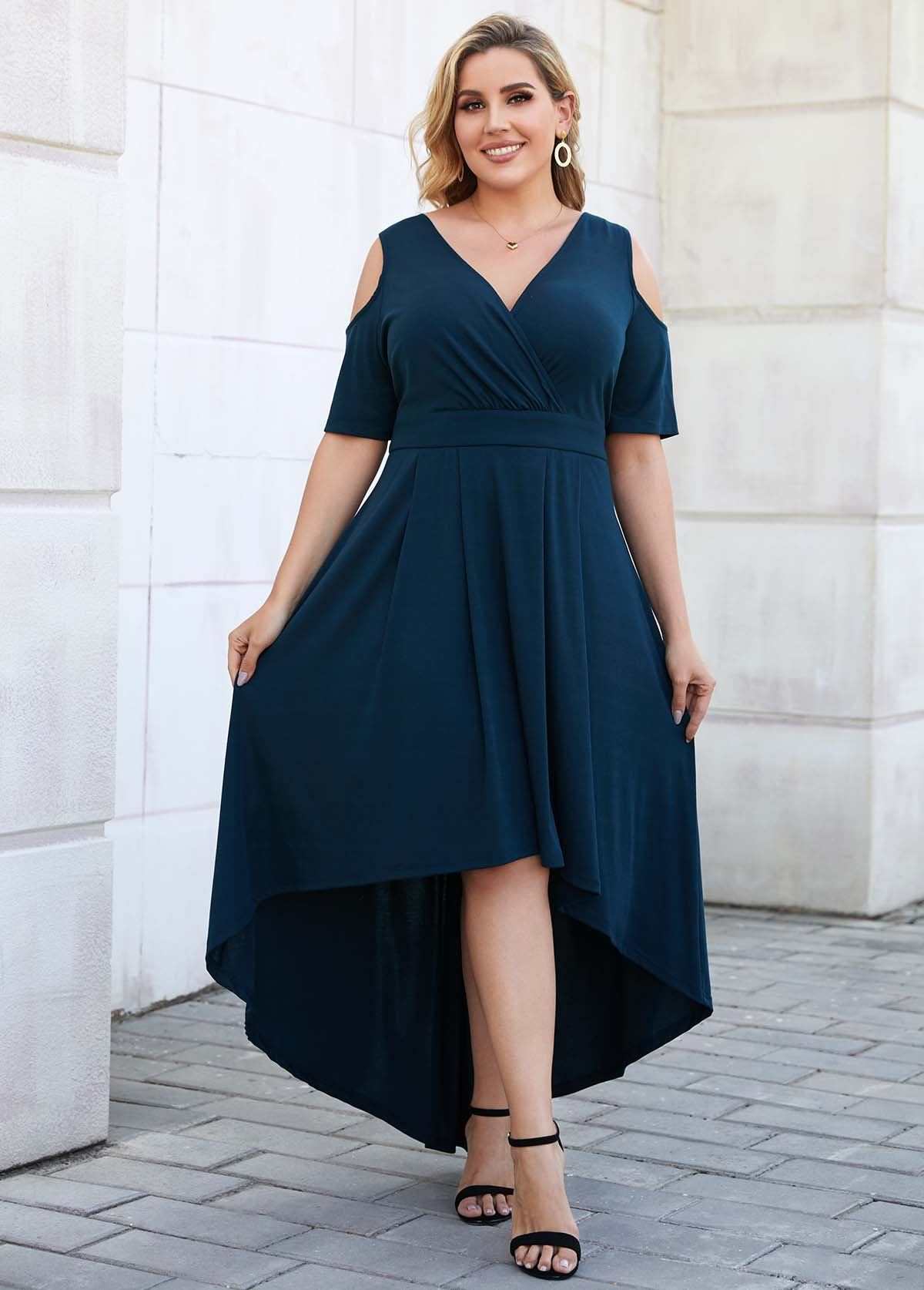 ROTITA Asymmetric Hem Plus Size Cold Shoulder Dress