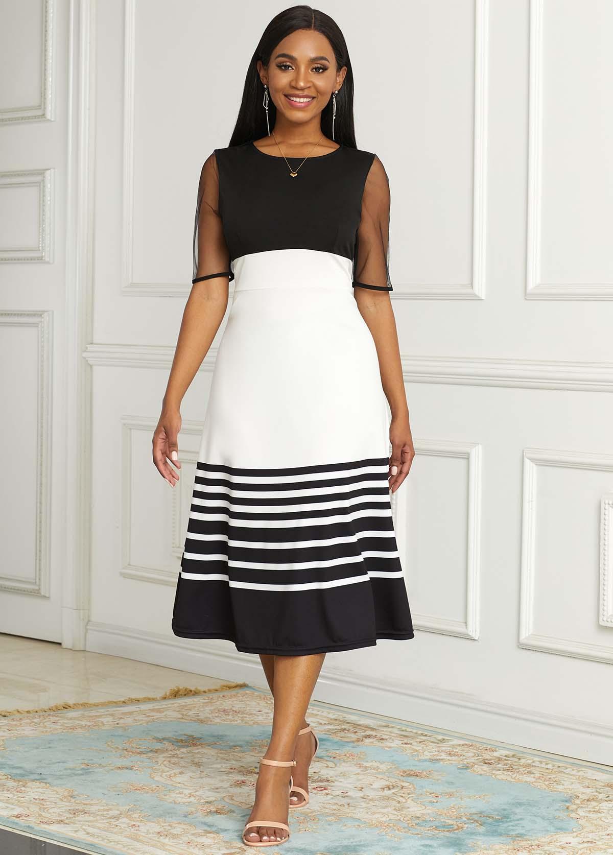 ROTITA Short Sleeve Striped Round Neck Dress