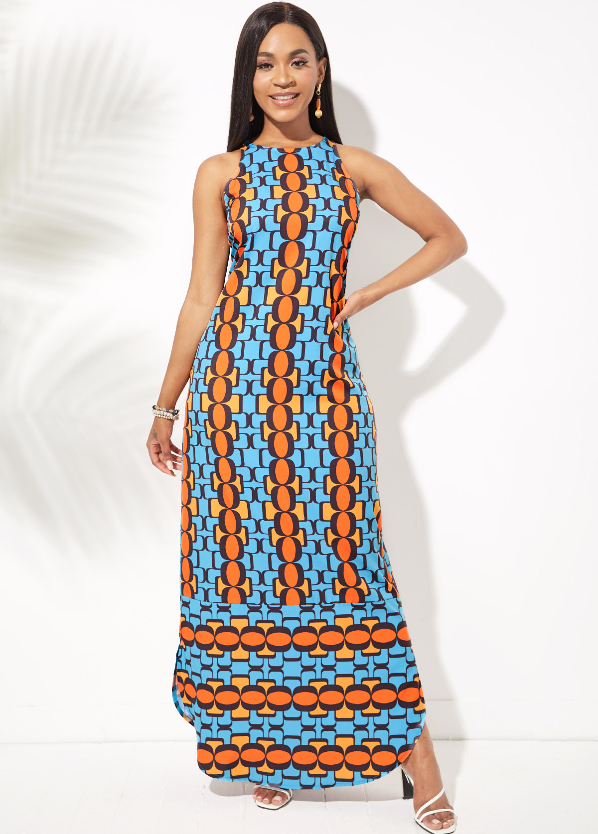 ROTITA Round Neck Side Slit Geometric Print Dress