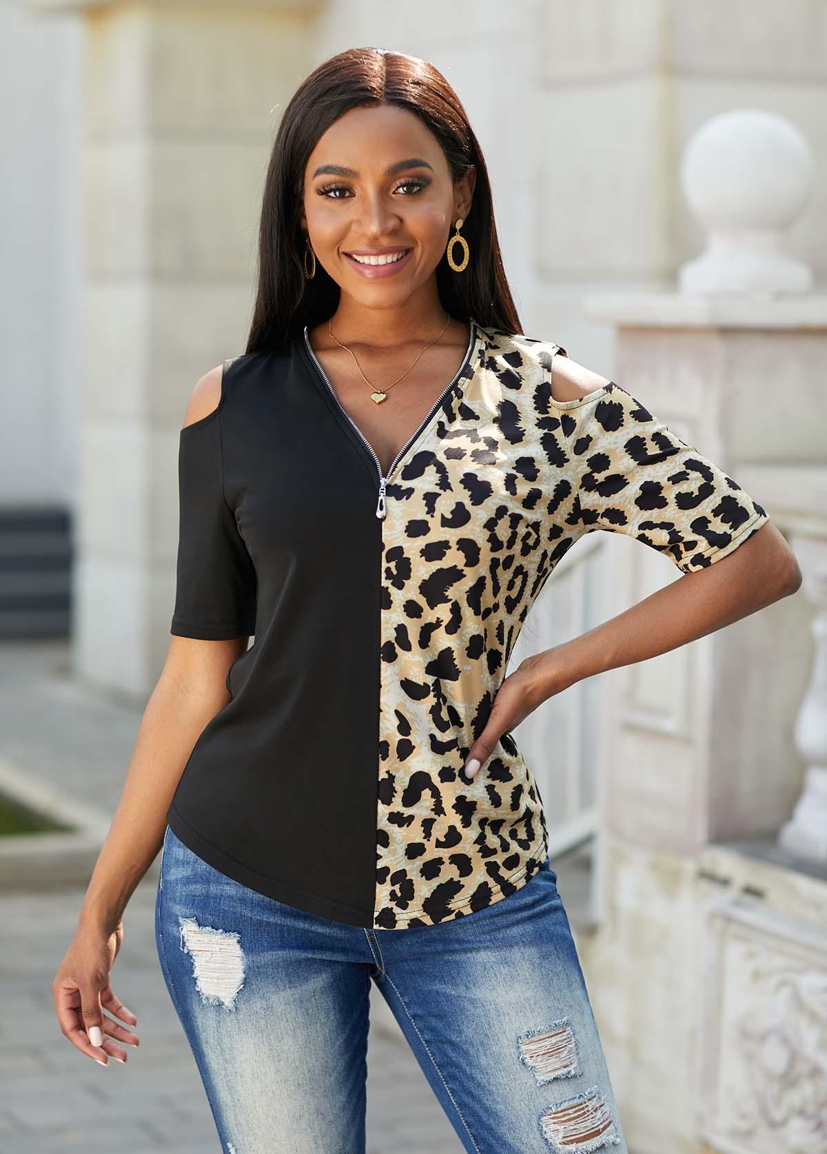 ROTITA Quarter Zip Cold Shoulder Leopard T Shirt