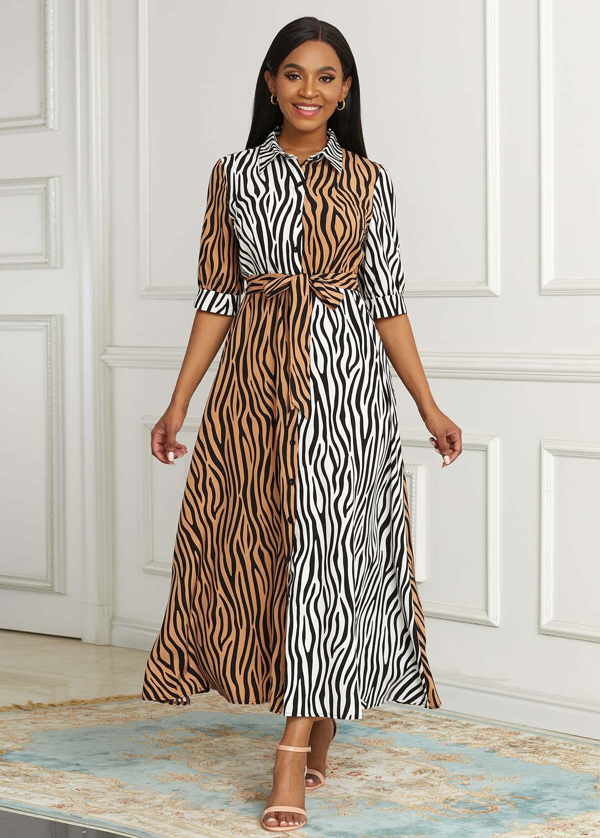 ROTITA Zebra Print Button Up Belted Dress