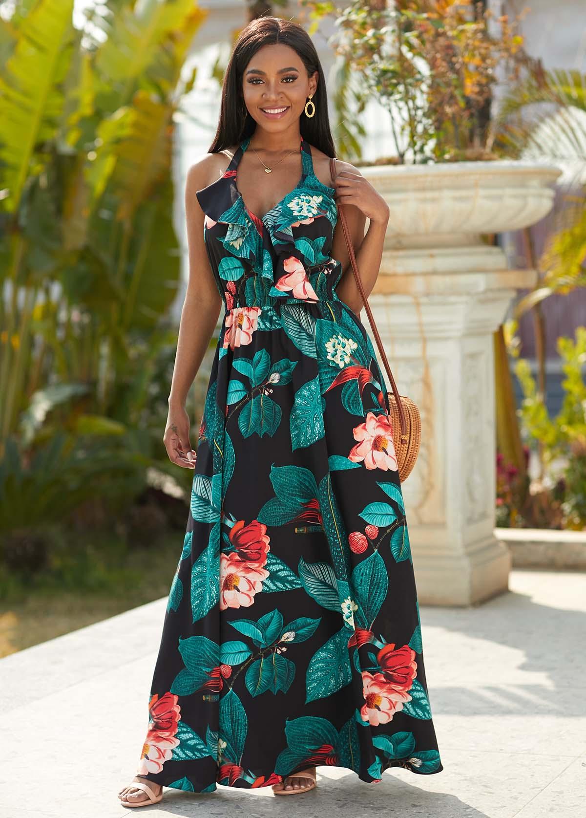 ROTITA Halter Floral Print Flounce Maxi Dress