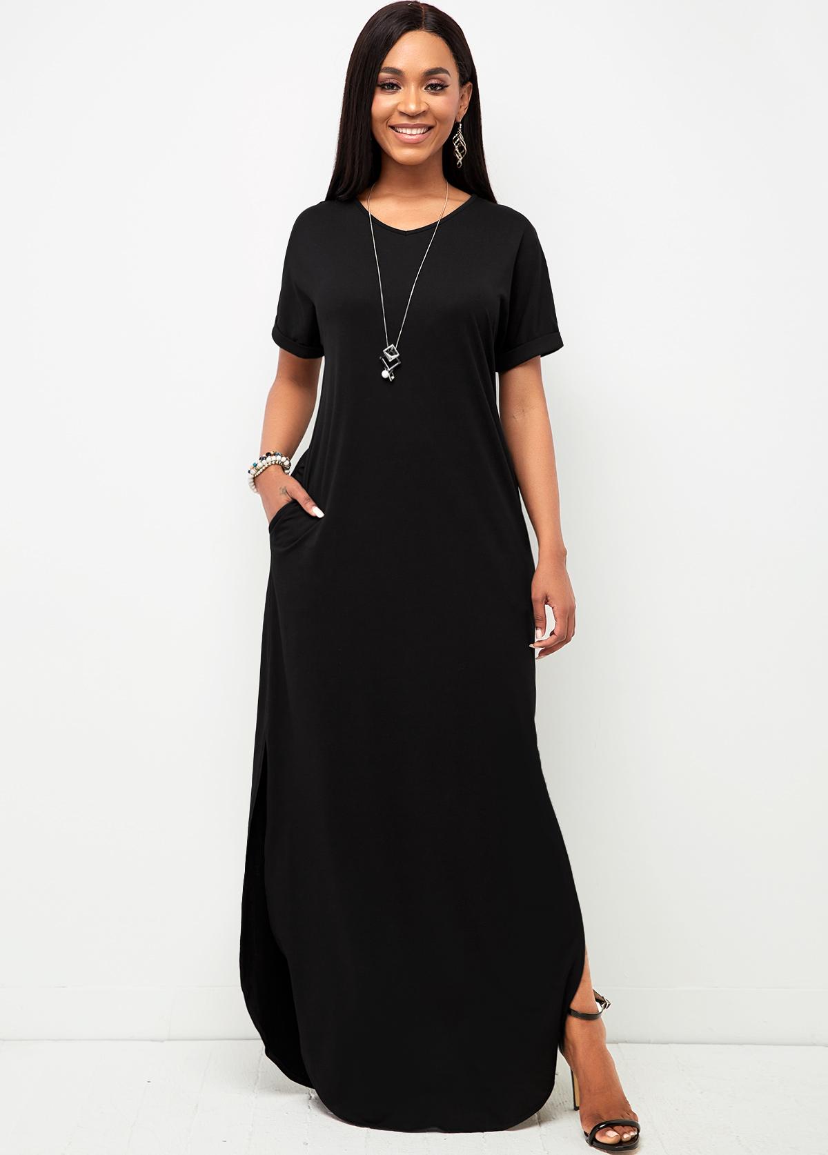 ROTITA V Neck Pocket Black Casual Dress