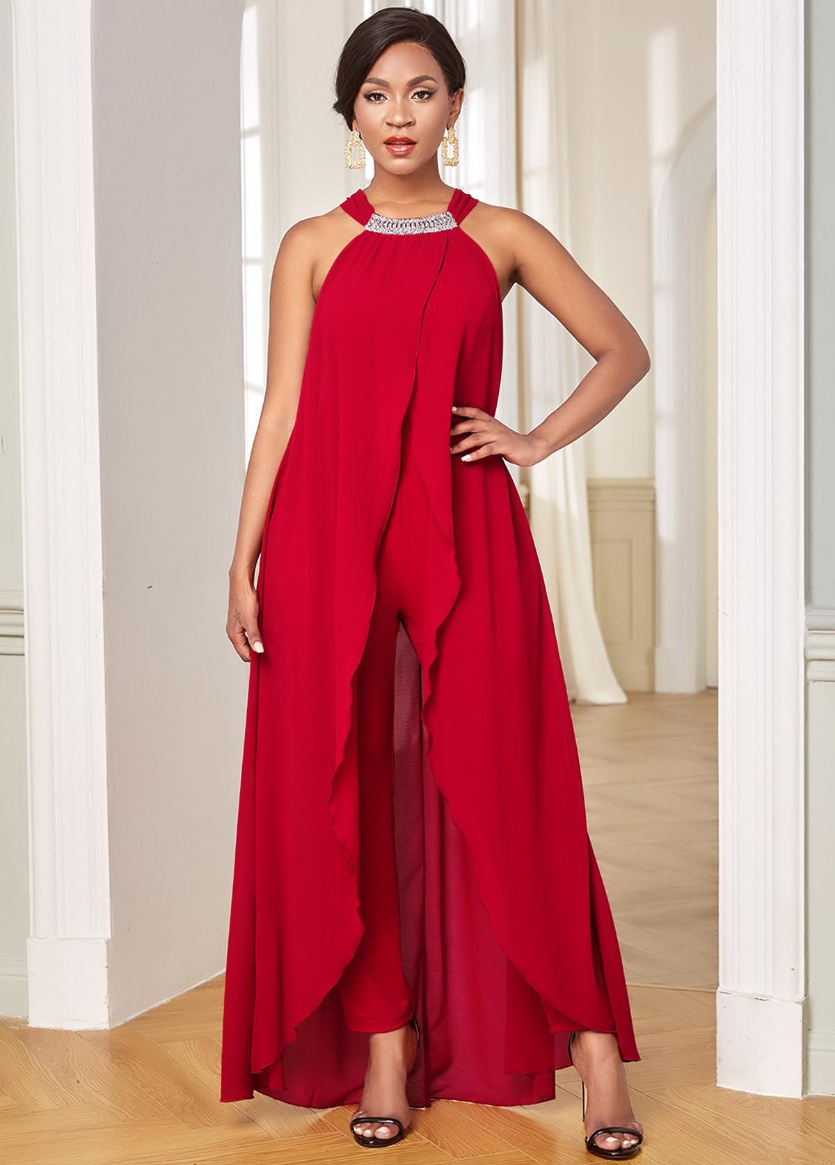ROTITA Chiffon Embellished Neck Overlay Sleeveless Jumpsuit