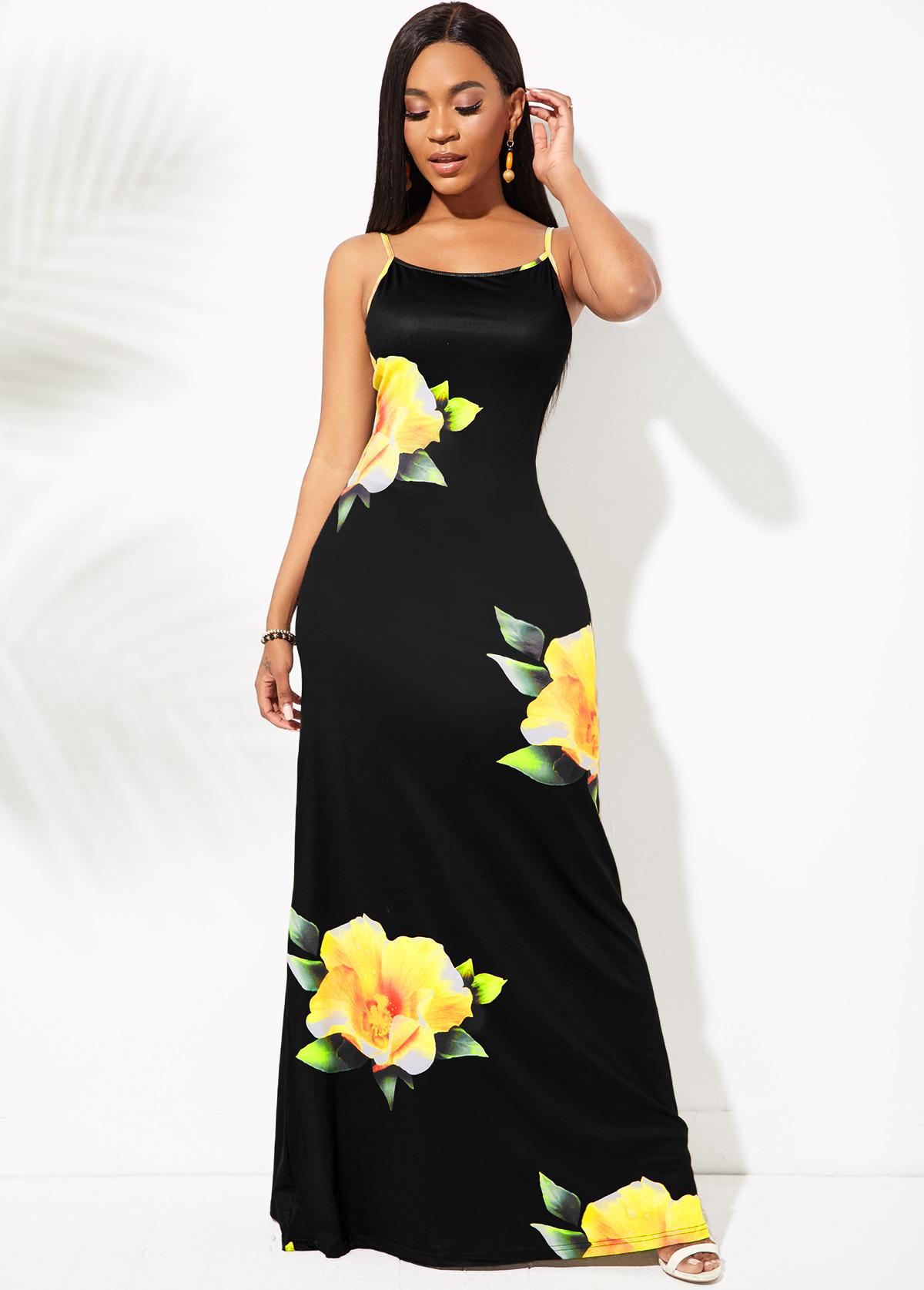 Spaghetti Strap Floral Print Maxi Dress