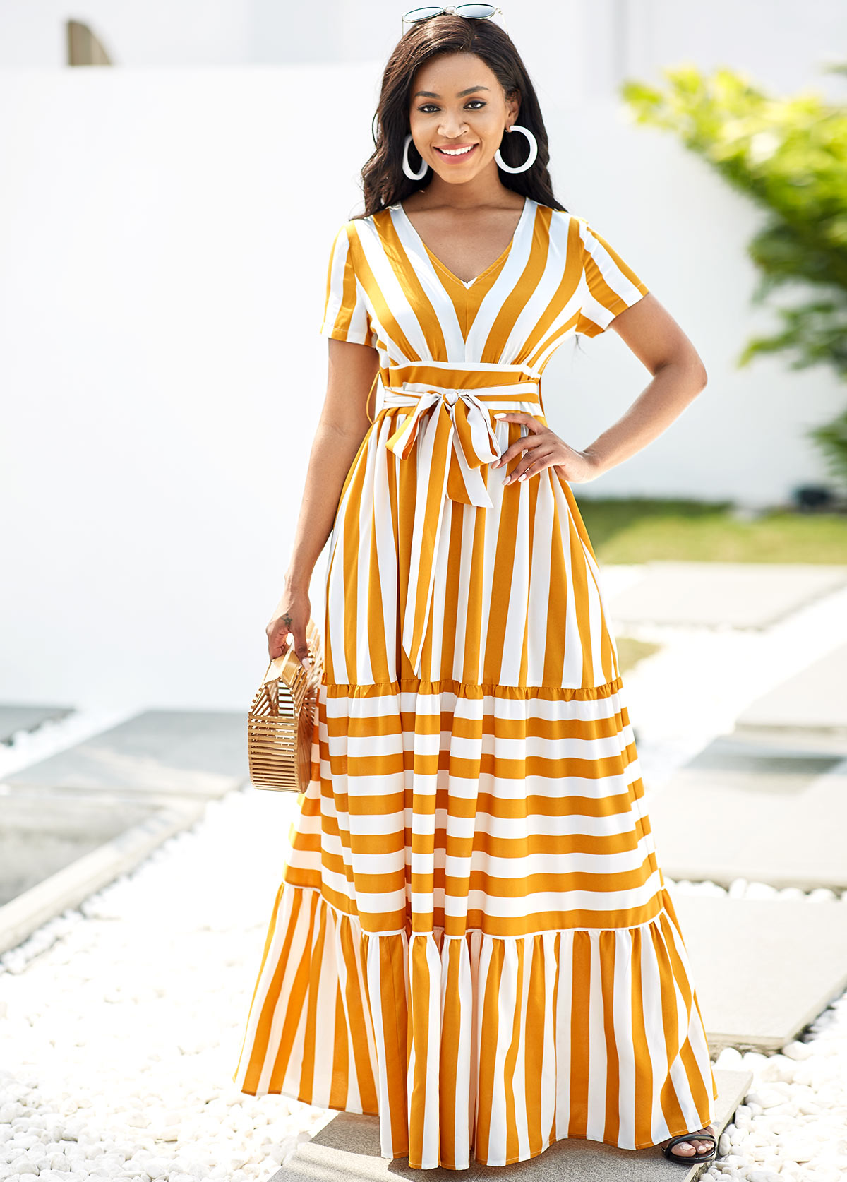 ROTITA Belted Striped V Neck Short Sleeve Dress