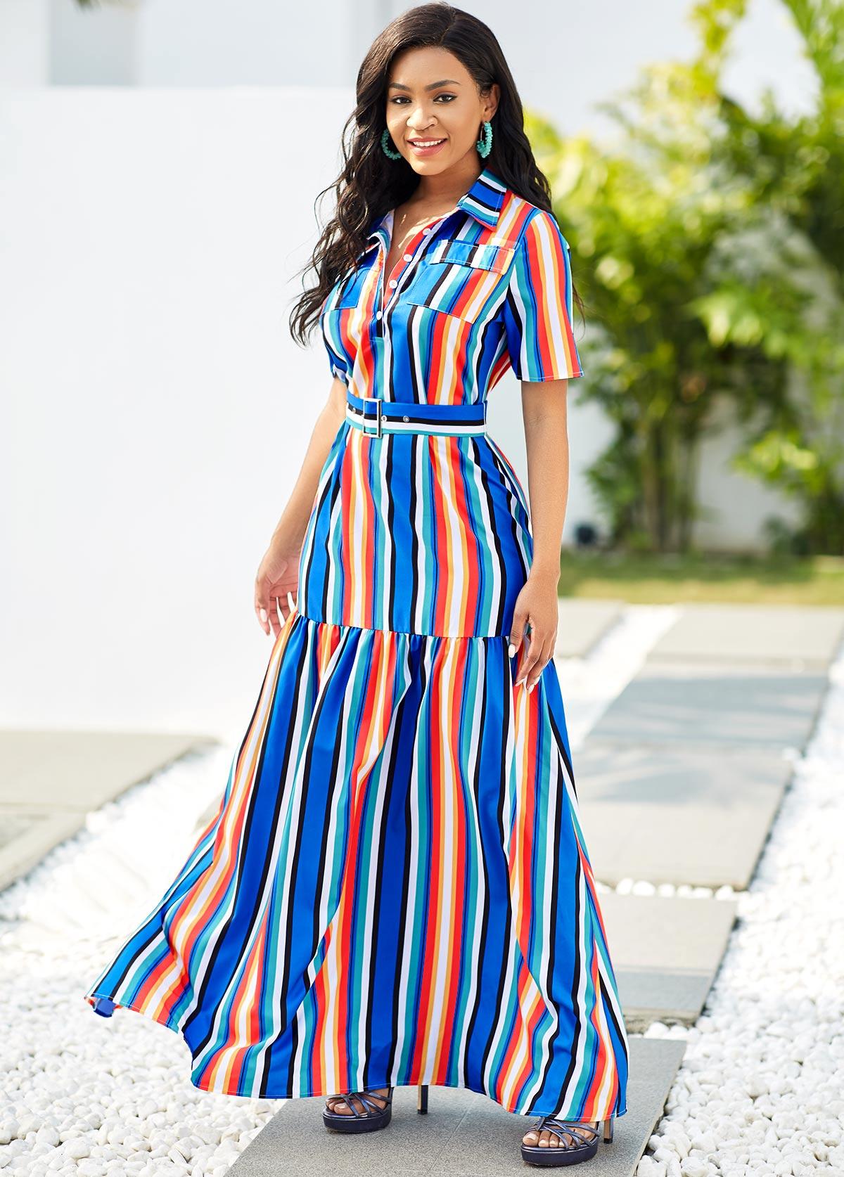ROTITA Turndown Collar Rainbow Stripe Button Detail Maxi Dress