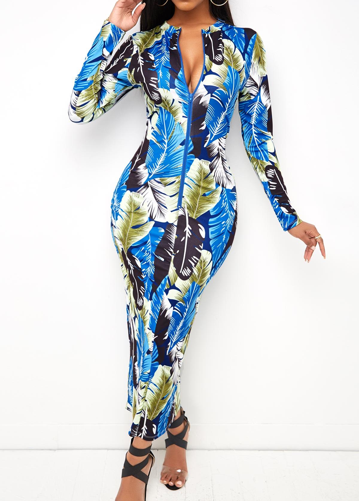 Leaf Print Zipper Front Maxi Dress