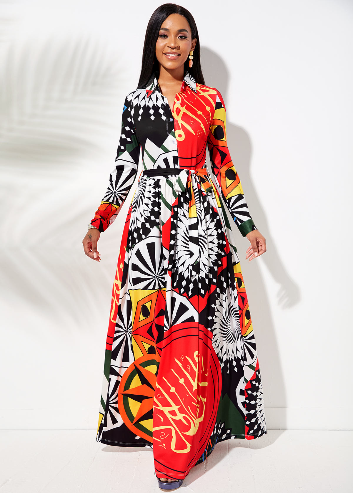 Printed Button Up Belted Maxi Dress