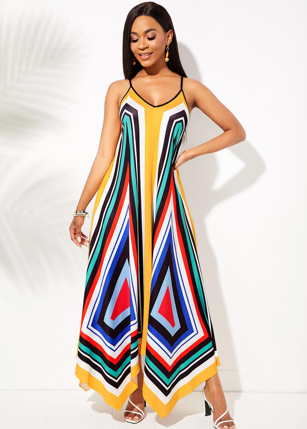 Geometric Print Asymmetric Hem Spaghetti Strap Dress