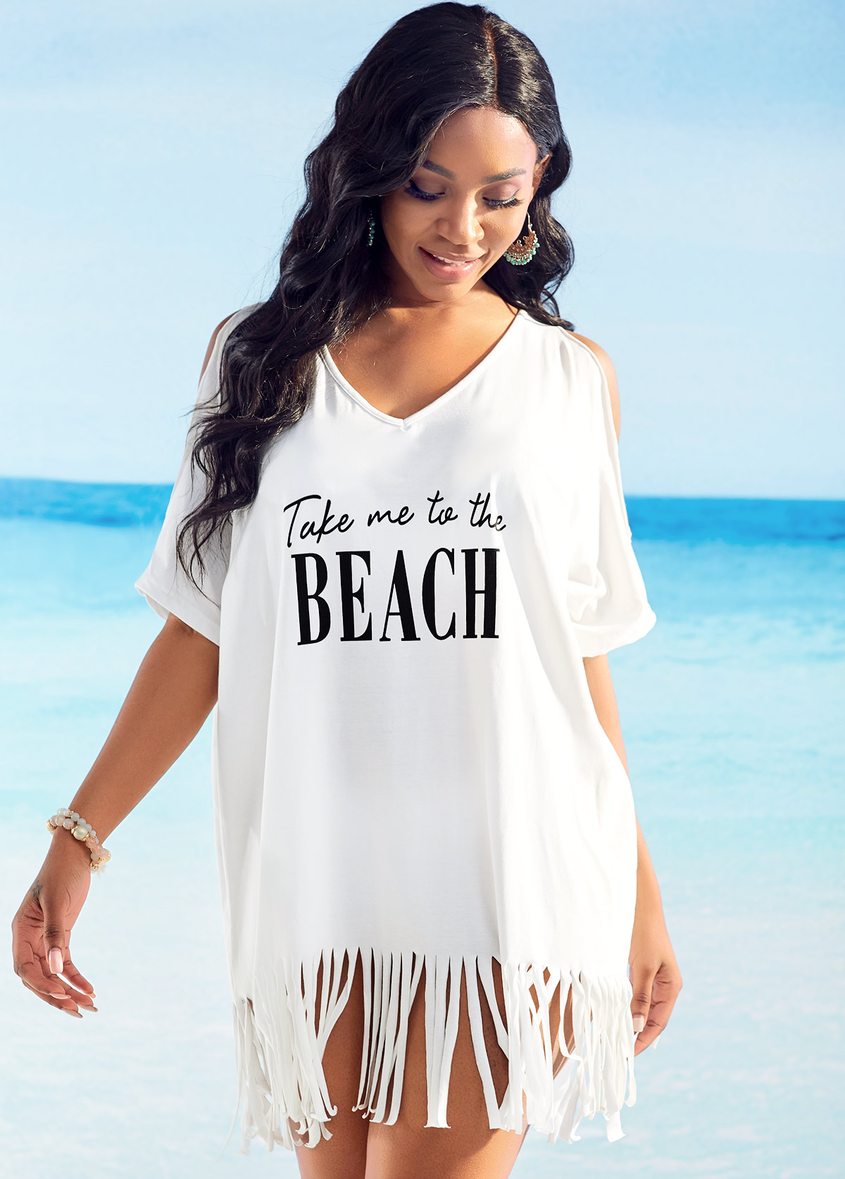 ROTITA Tassel Hem Cold Shoulder Letter Print Cover Up