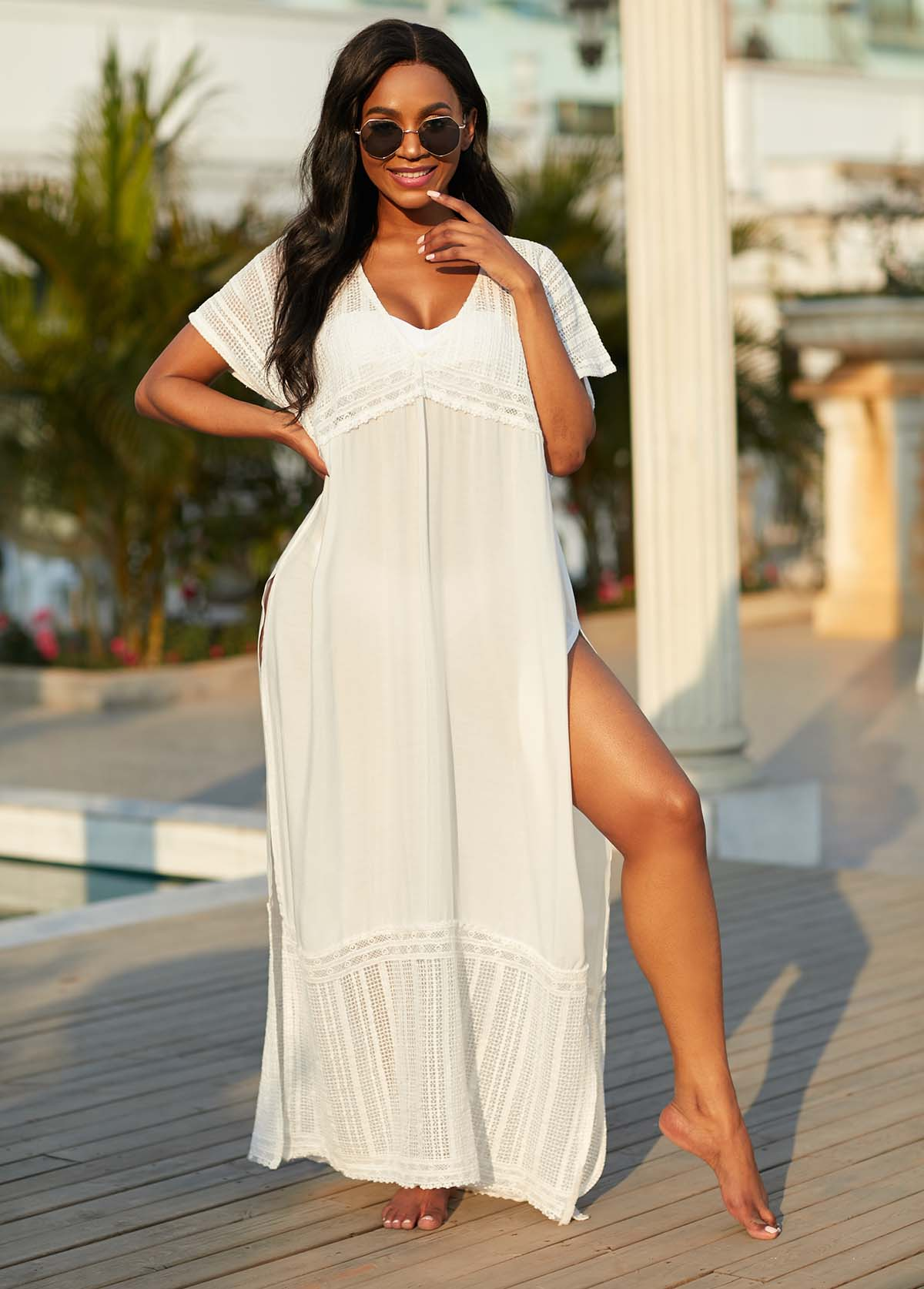 Lace Stitching High Slit V Neck Cover Up