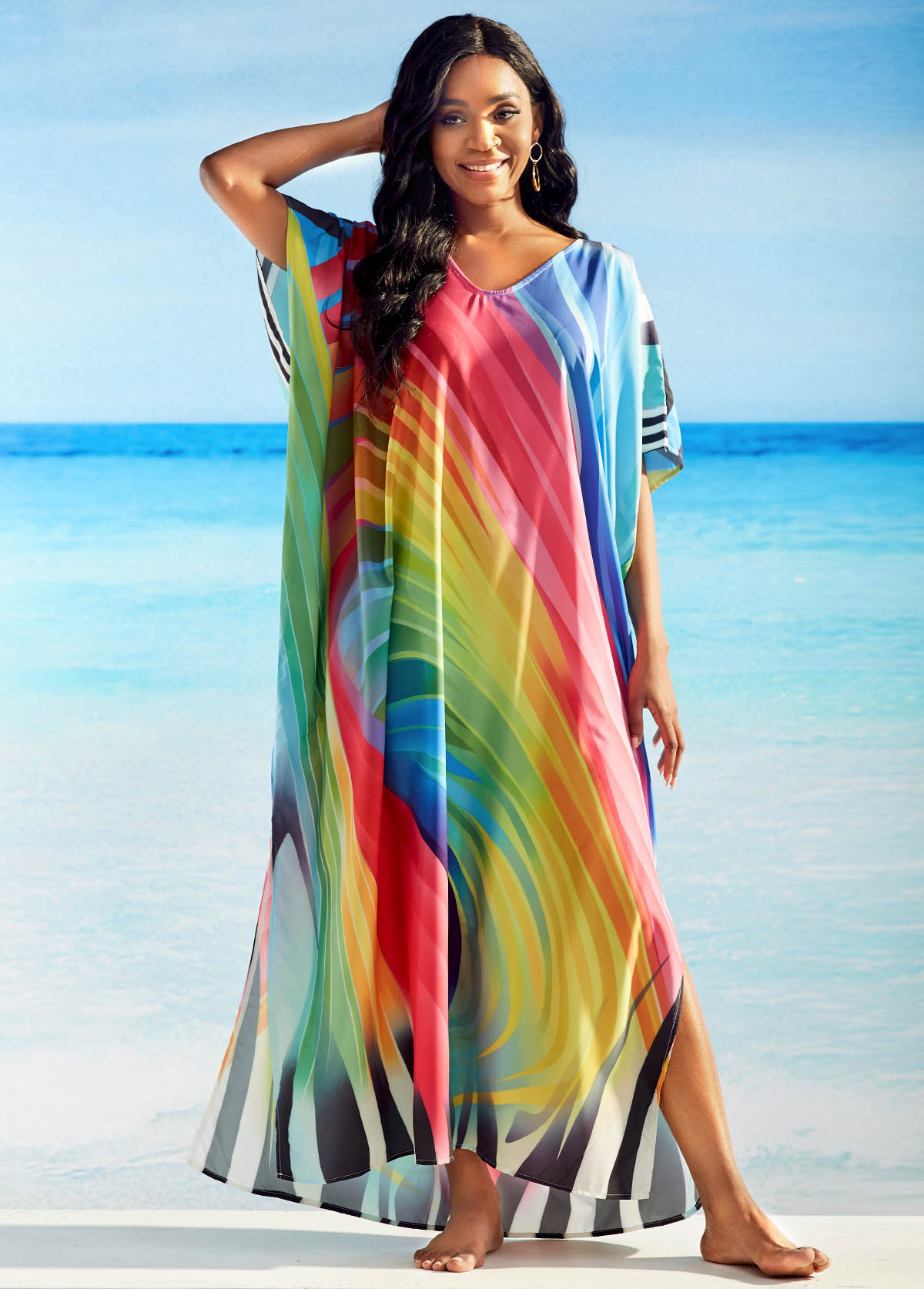 V Neck Multicolor Striped 3/4 Sleeve Cover Up