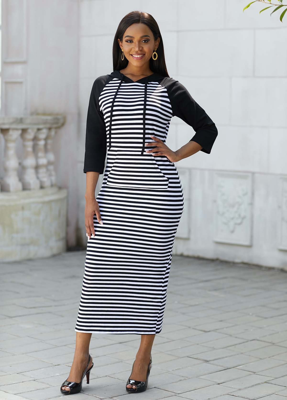 Striped Pocket Drawstring Hooded Collar Dress