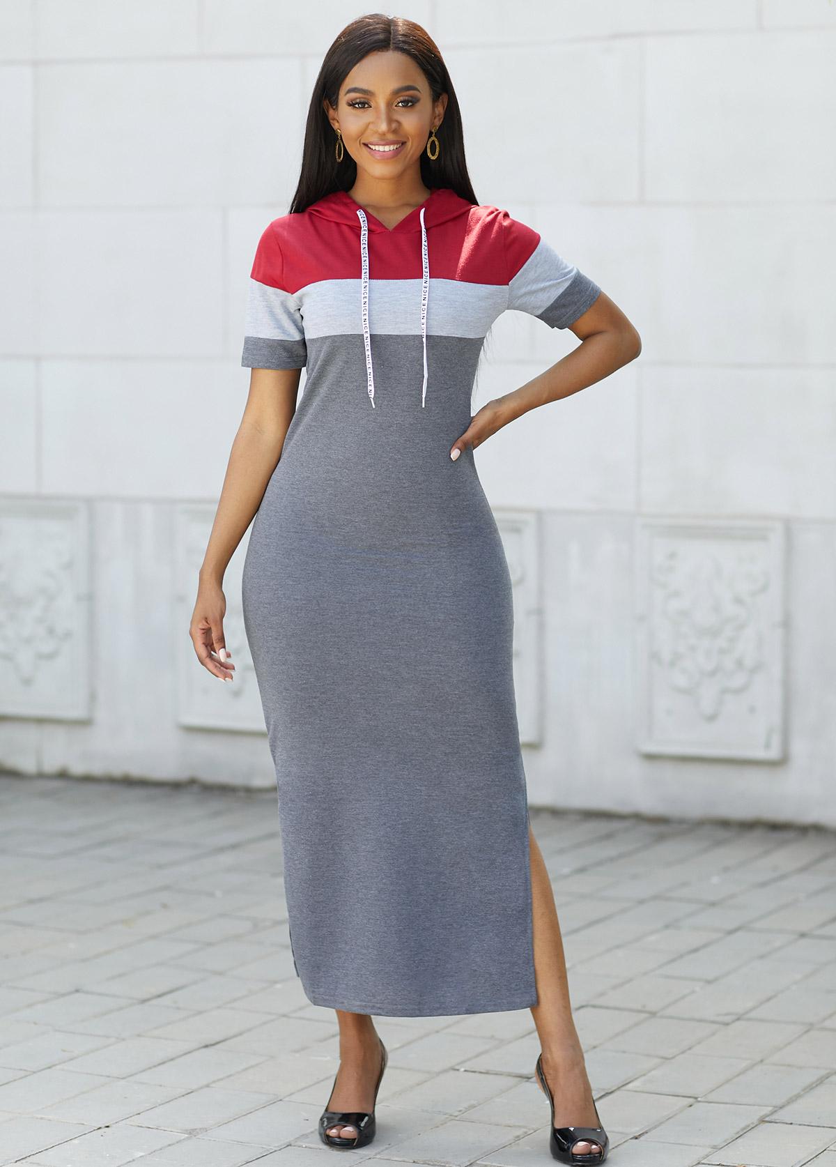 Drawstring Hooded Collar Contrast Maxi Dress