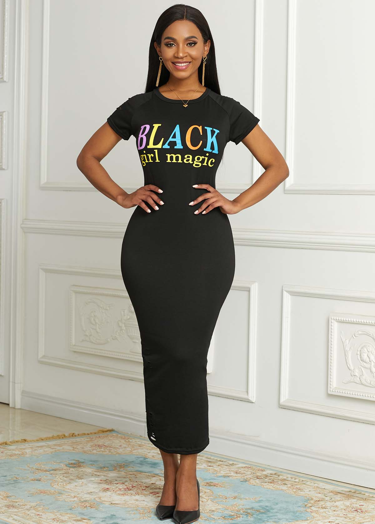Round Neck Short Sleeve Letter Print Dress